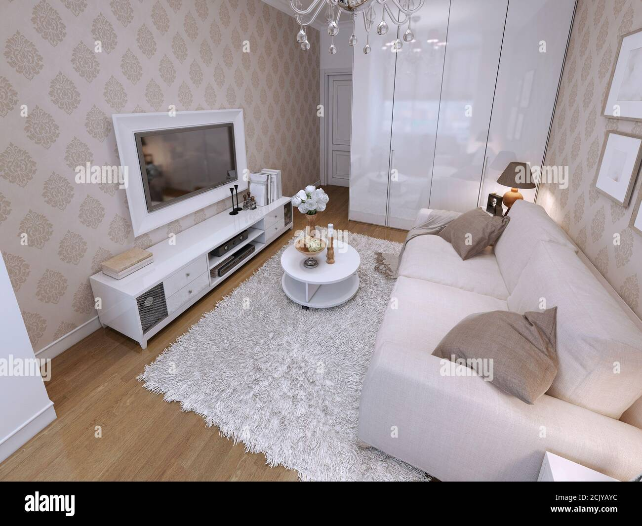 Modern Living Room With White Wardrobe And Audio With Tv Grey Cloth Sofa In A Modern Style 3d Render Stock Photo Alamy