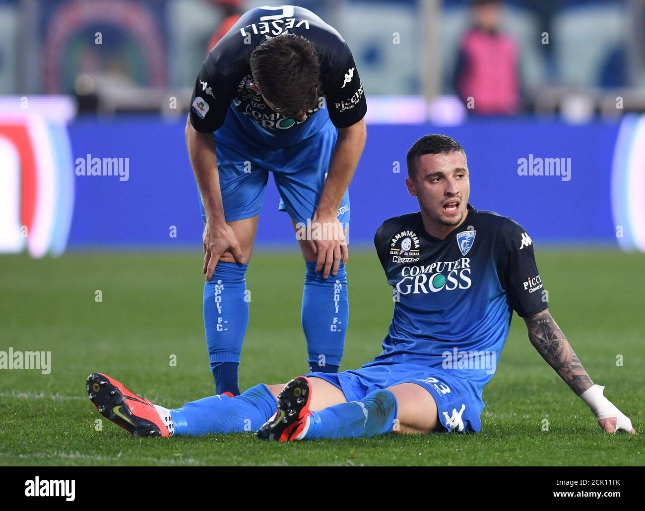 Soccer Football - Serie A - Empoli v Napoli - Stadio Carlo Castellani,  Empoli, Italy - April 3, 2019 Empoli's Rade Krunic and Frederic Veseli  react REUTERS/Jennifer Lorenzini Stock Photo - Alamy