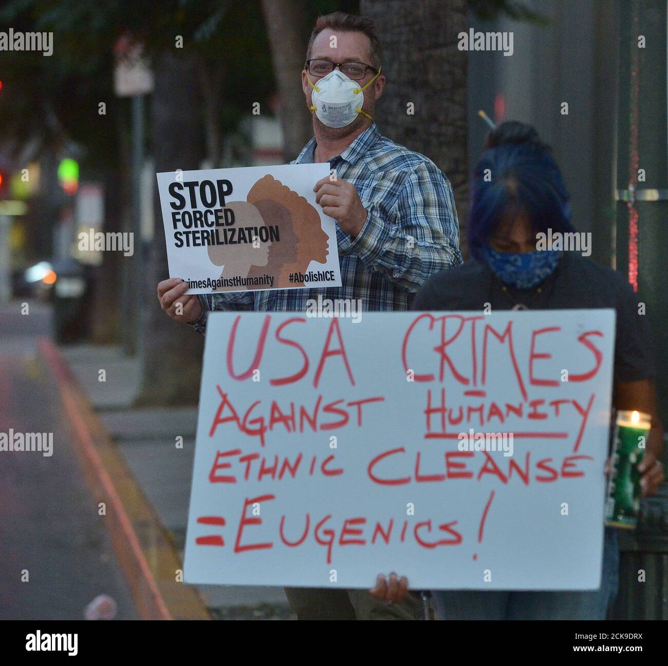Los Angeles, United States. 15th Sep, 2020. A small group of activists protest the alleged incidents of negligence and abuse, like forced hysterectomies for women at a holding facility in Georgia, outside CNN in the Hollywood section of Los Angeles on Tuesday, September 15, 2020. Human rights groups and whistle-blower Dawn Wooten, a nurse who worked at the Ocilla, Ga. private detention center that houses migrants for U.S. Immigration and Customs Enforcement, condemned the Trump administration for their treatment. Photo by Jim Ruymen/UPI Credit: UPI/Alamy Live News Stock Photo