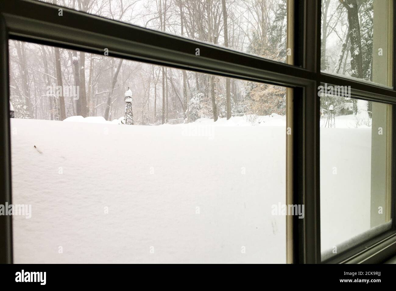 A view from a basement window shows overnight snow covering the grounds after a blustery snowstorm inside the Washington DC Beltway in Annandale, Virginia, January 23, 2016. Thick snow covered the Washington D.C. area on Saturday as a potentially record-breaking blizzard paralyzed road, rail and airline travel on the U.S. East Coast from North Carolina to New York.  REUTERS/Hyungwon Kang Stock Photo