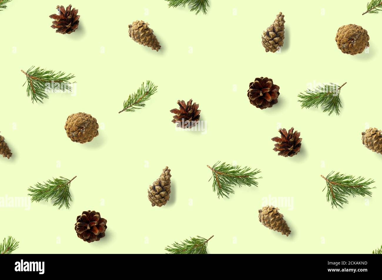 Seamless Christmas Pattern From Pine Cones On Green Background Modern Pine Cone Christmas Collage Print For Paper Fabric Wallpaper Pinecones Stock Photo Alamy