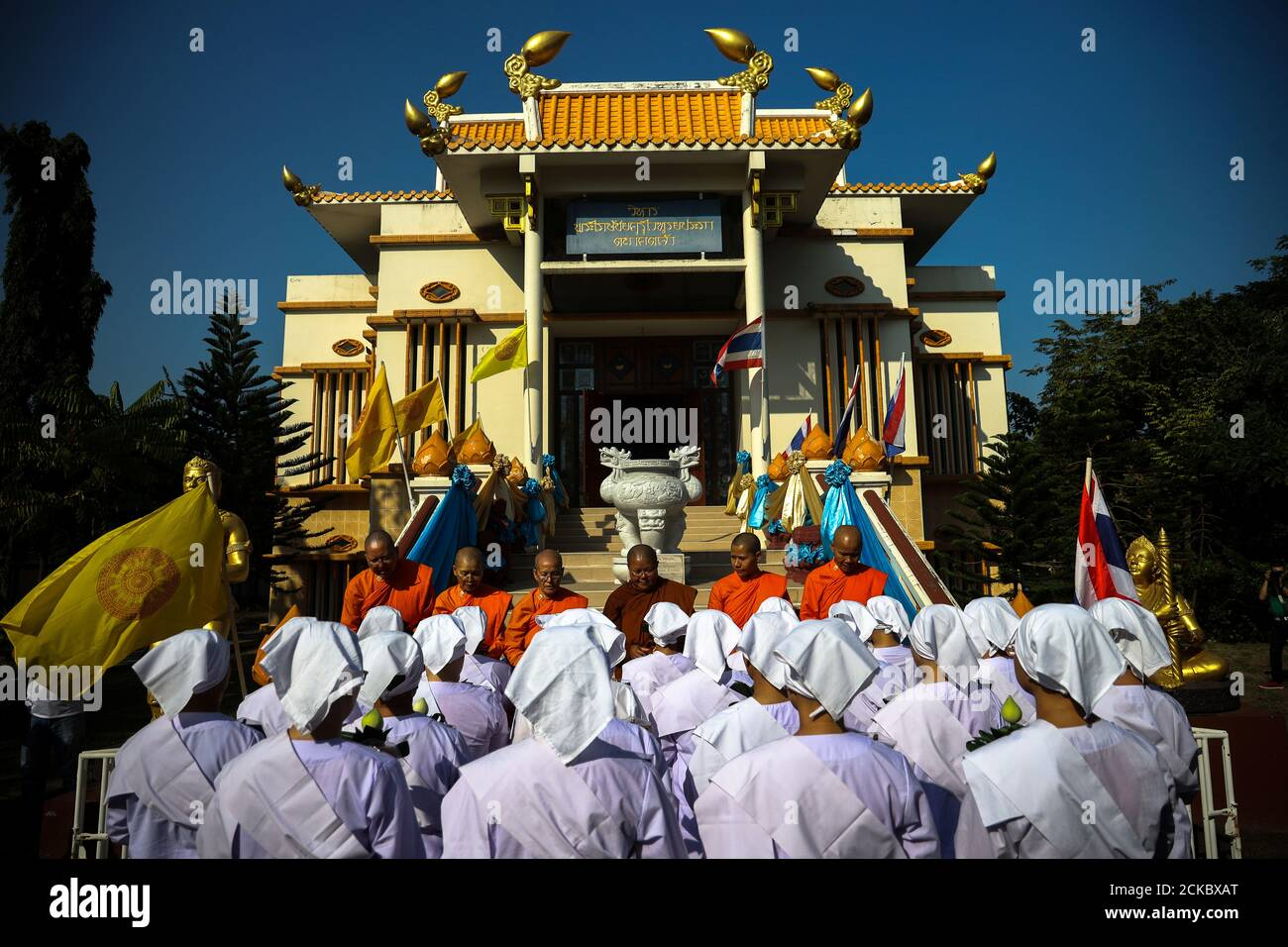 Thai Women Devotees In White Robes Pray During A Mass Female Buddhist Novice Monk Ordination Ceremony At The Songdhammakalyani Monastery Nakhon Pathom Province Thailand December 5 2018 Officially Only Men Can Become