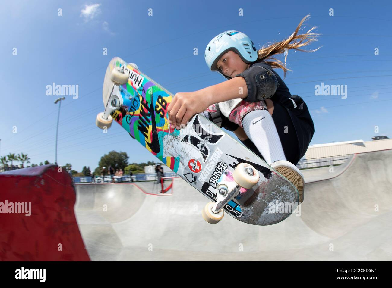 Eleven-year-old skateboarder Sky Brown trains to become Britain's youngest summer Olympian at a skatepark in Huntington Beach, California, U.S., September 20, 2019. Picture taken September 20, 2019.    REUTERS/Mike Blake Stock Photo