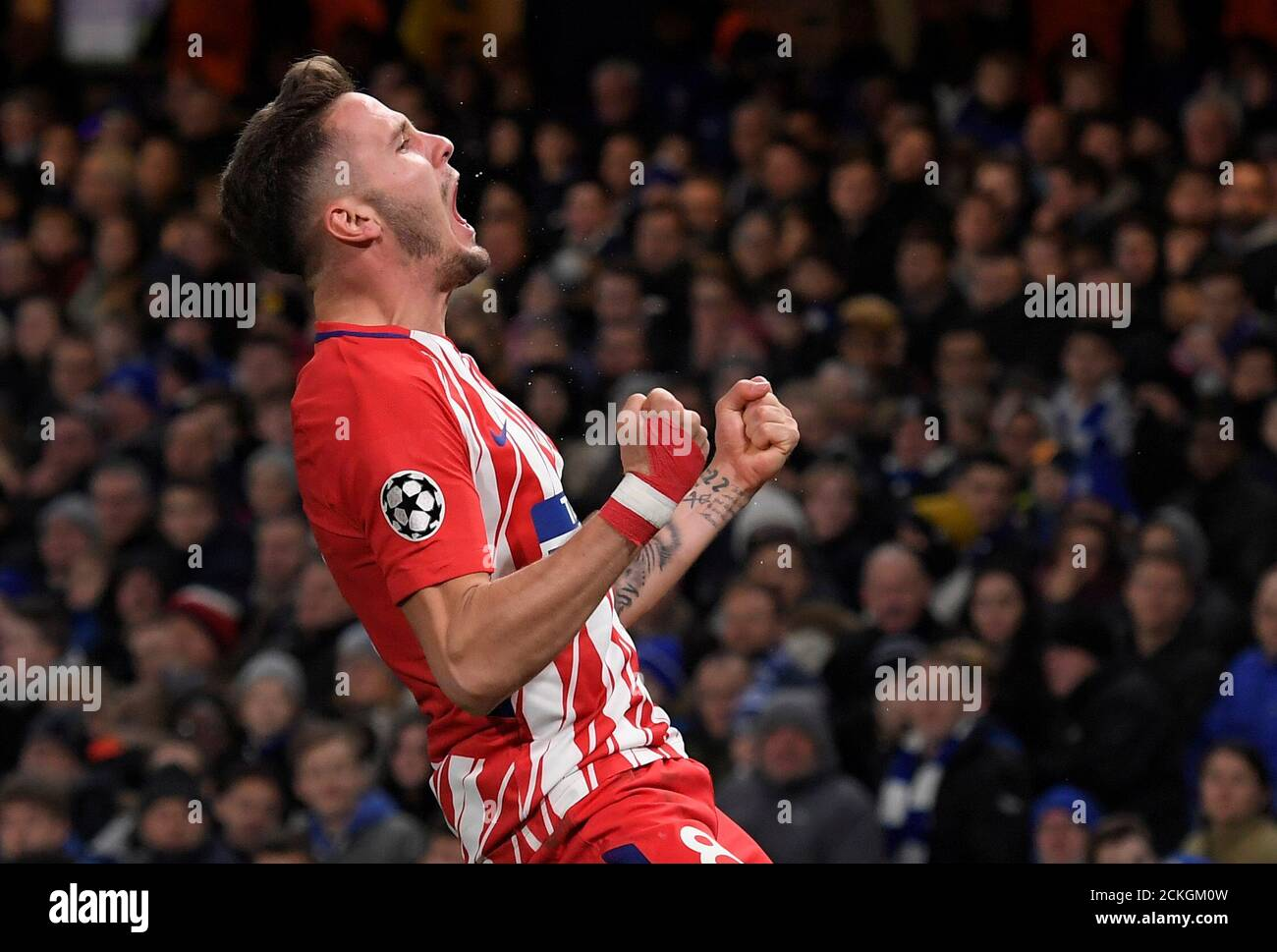 Soccer Football - Champions League - Chelsea vs Atletico Madrid - Stamford  Bridge, London, Britain - December 5, 2017 Atletico Madrid's Saul Niguez  celebrates scoring their first goal REUTERS/Toby Melville Stock Photo -  Alamy