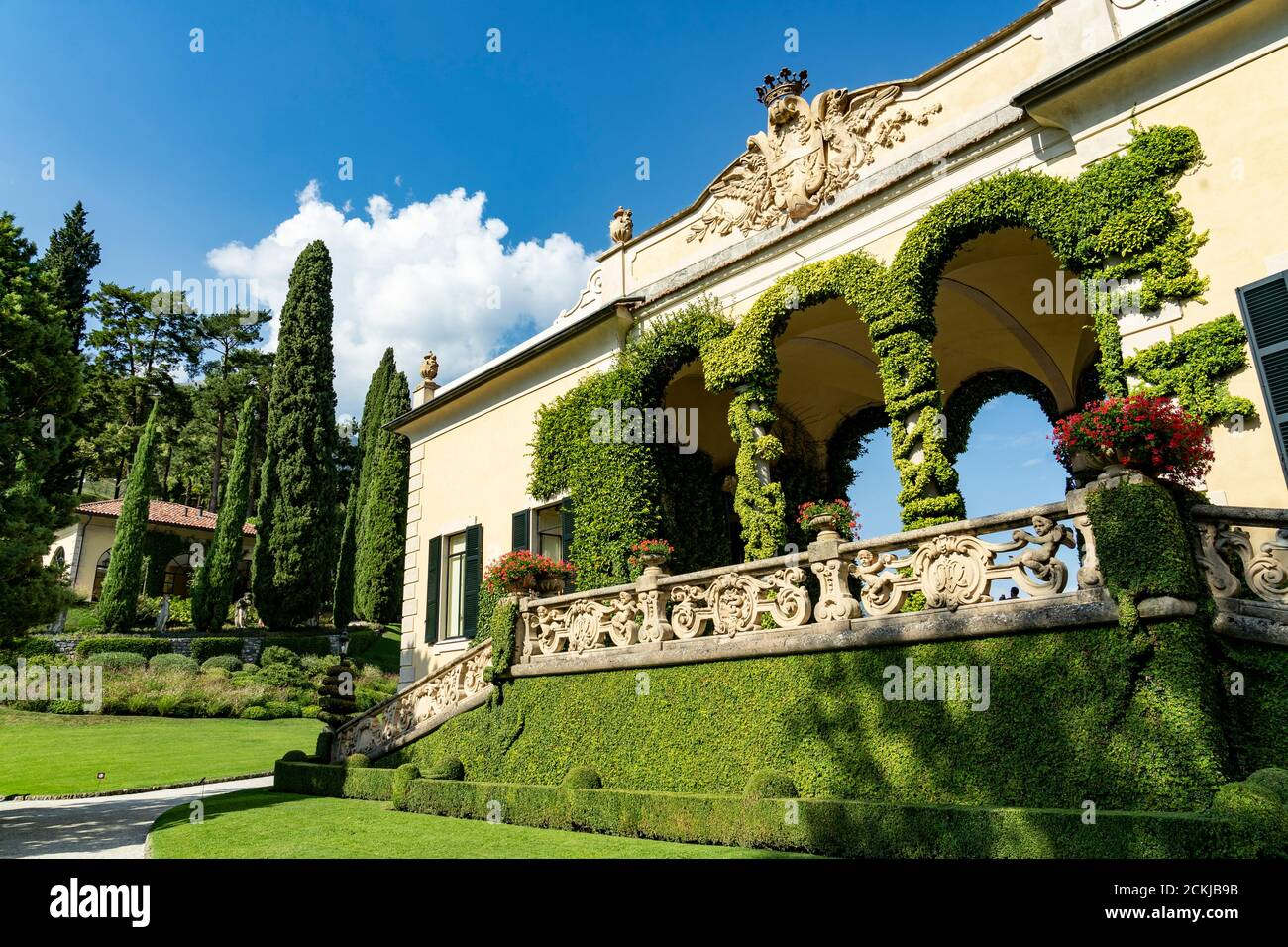 Italy. Lombardy. Lake Como. Around the village of Leno. The Balbianello villa on the Lavedo peninsula Stock Photo