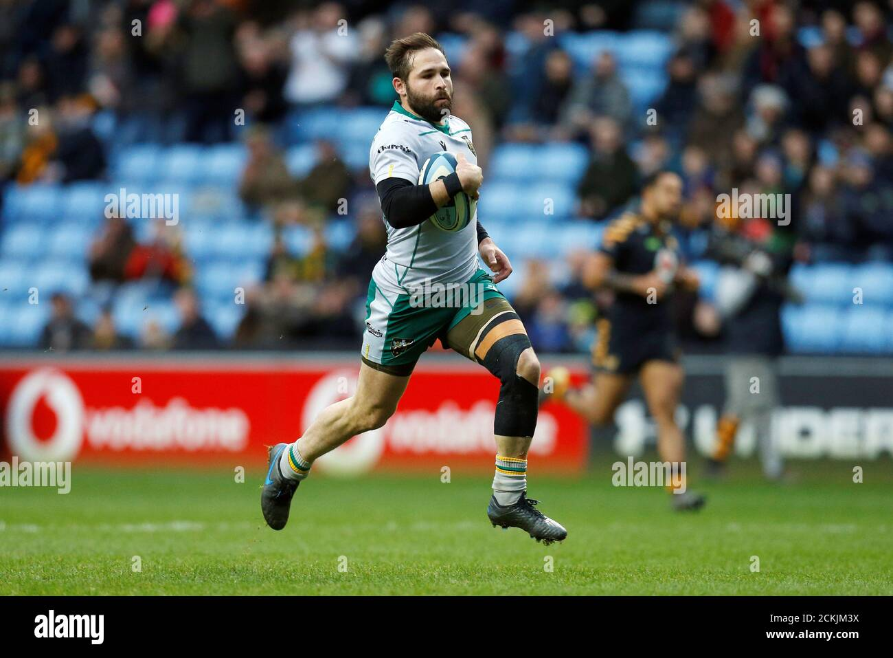 Rugby Union - Premiership - Wasps v Northampton Saints - Ricoh Arena, Coventry, Britain - January 5, 2020  Northampton Saints' Cobus Reinach scores their first try   Action Images/Ed Sykes Stock Photo