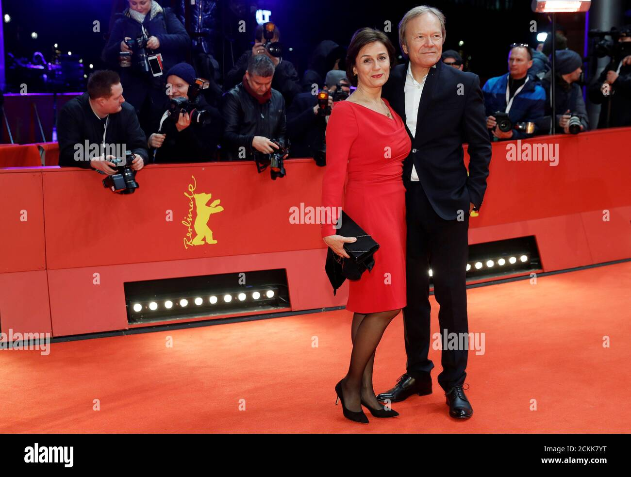 Sandra Maischberger and her husband Jan Kerhart pose on the red carpet as they arrive for the award ceremony of the 70th Berlinale International Film Festival in Berlin, Germany, February 29, 2020. REUTERS/Michele Tantussi Stock Photo