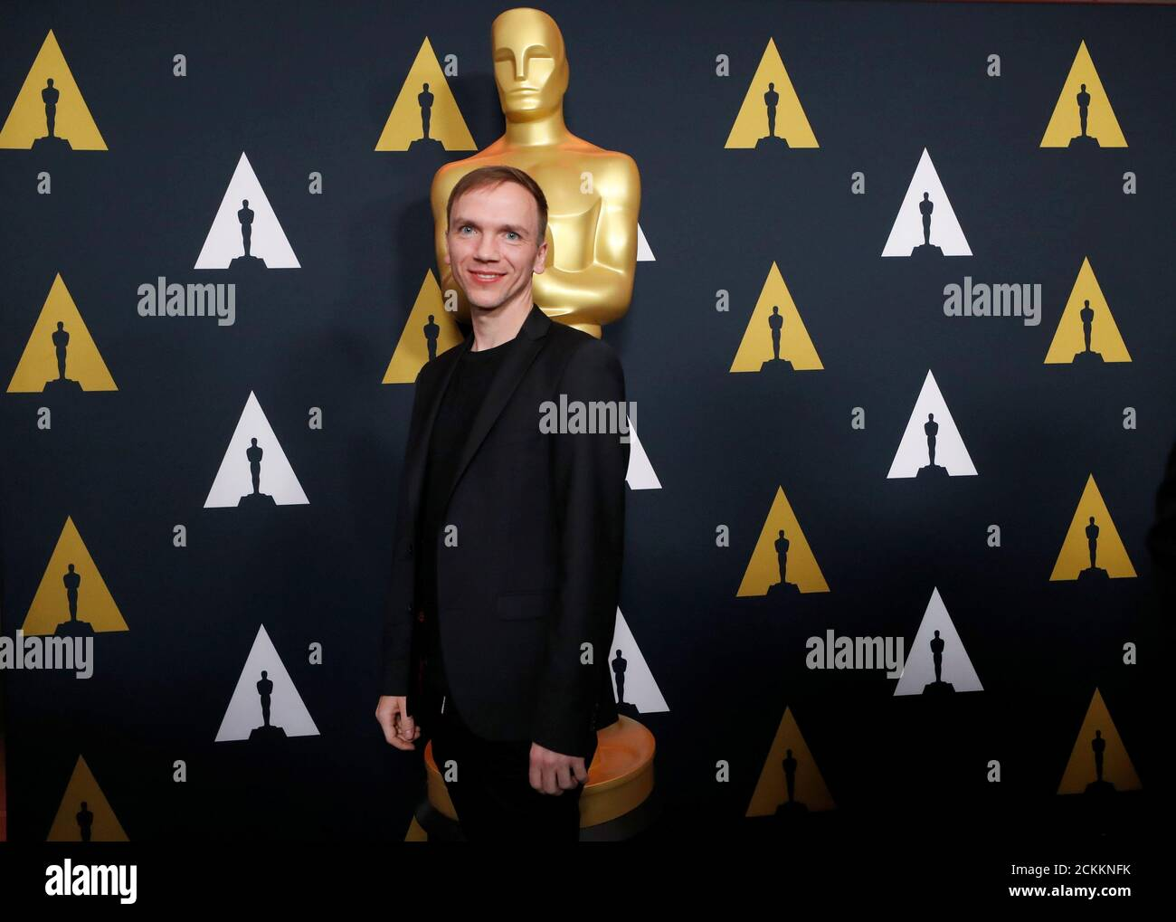 "Polish director Jan Komasa, nominated for Best international feature film for ""Corpus Christi,"" poses at a reception at the Academy of Motion Picture Arts and Sciences in Beverly Hills, California, U.S., February 6, 2020. REUTERS/Mario Anzuoni Stock Photo"