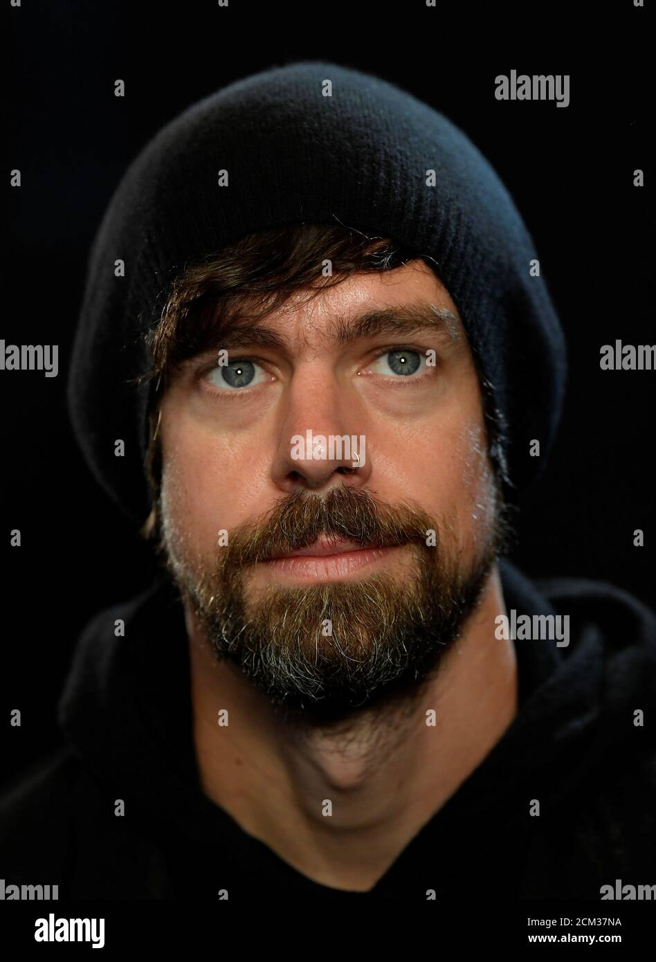 Jack Dorsey, co-founder of Twitter and fin-tech firm Square, sits for a portrait during an interview with Reuters in London, Britain, June 11, 2019. REUTERS/Toby Melville Stock Photo