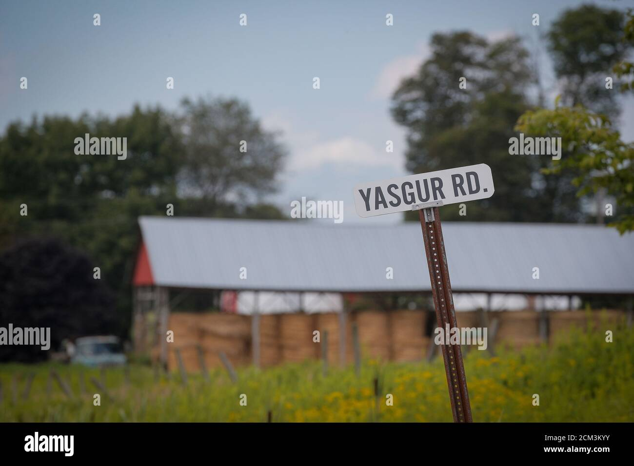 A street sign for Yasgur Rd., on what was Max Yasgur's farm, the original  site of