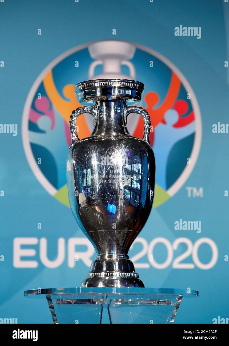 Football Soccer Uefa Euro 2020 Munich Logo Launch Olympia Park Munich Germany 27 10 16 The Trophy Is Seen During The Logo Launch Reuters Michaela Rehle Stock Photo Alamy