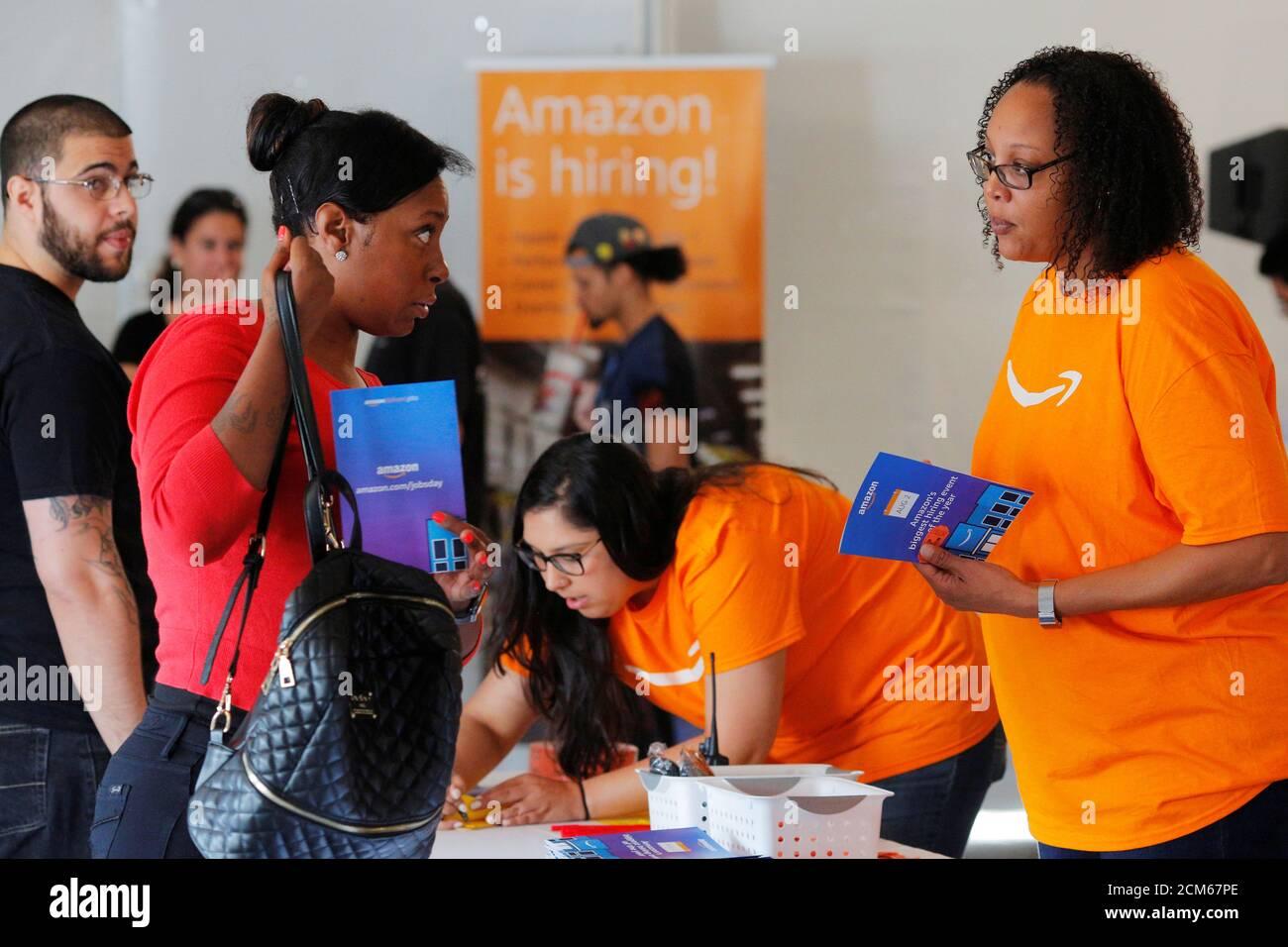 """Potential job applicants register for """"Amazon Jobs Day,"""" a job"""