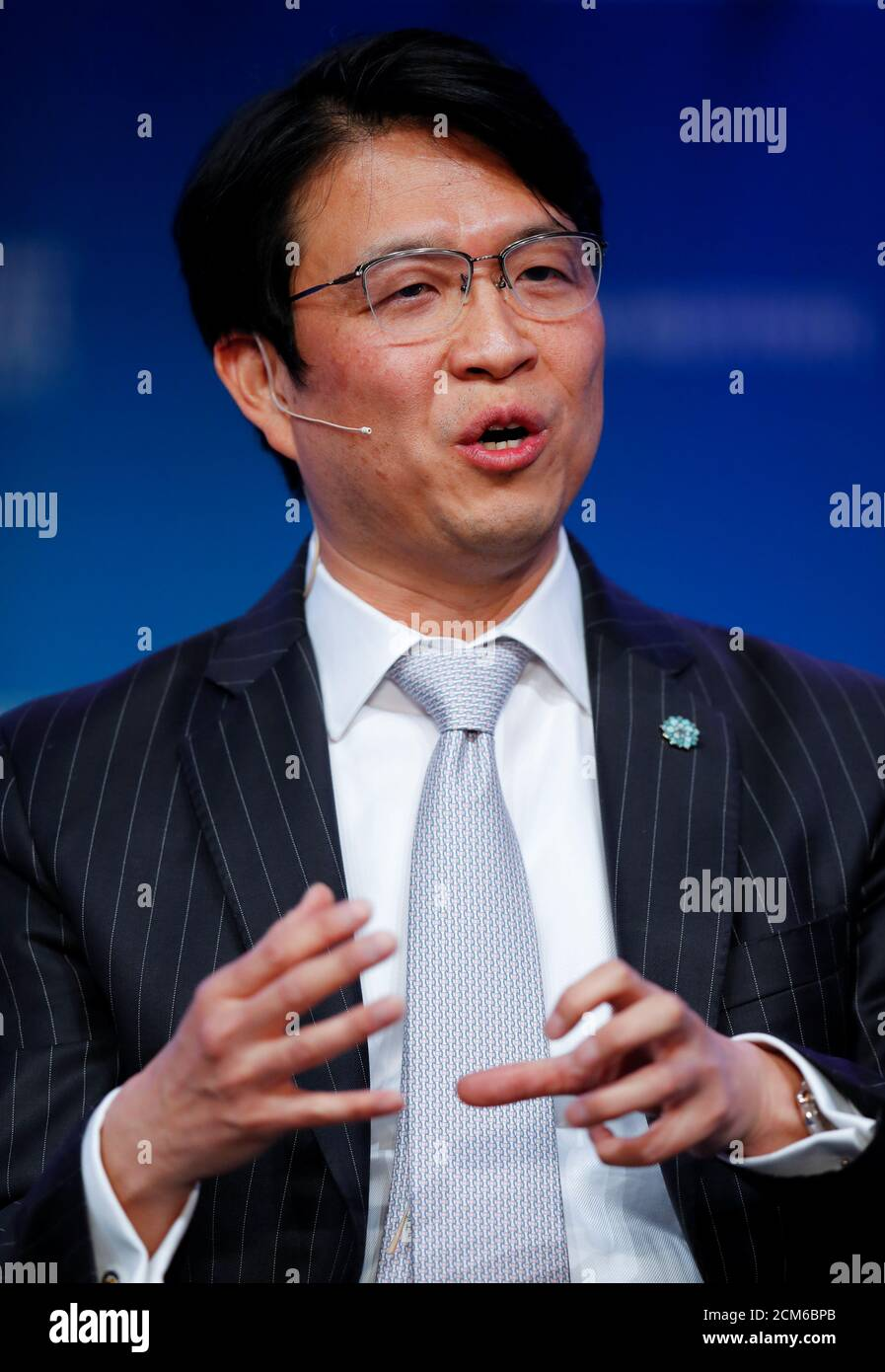 Hiromichi Mizuno Executive Managing Director and Chief Investment Officer at Government Pension Investment Fund in Japan and Co-Chair at Global Capital Markets Advisory Council for Milken Institute, speaks during the Milken Institute's 22nd annual Global Conference in Beverly Hills, California, U.S., May 1, 2019.  REUTERS/Mike Blake Stock Photo