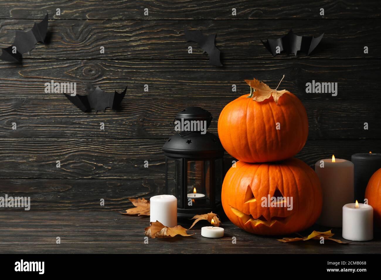 Halloween Pumpkin Accessories.Pumpkins And Halloween Accessories On Wooden Background Stock Photo Alamy