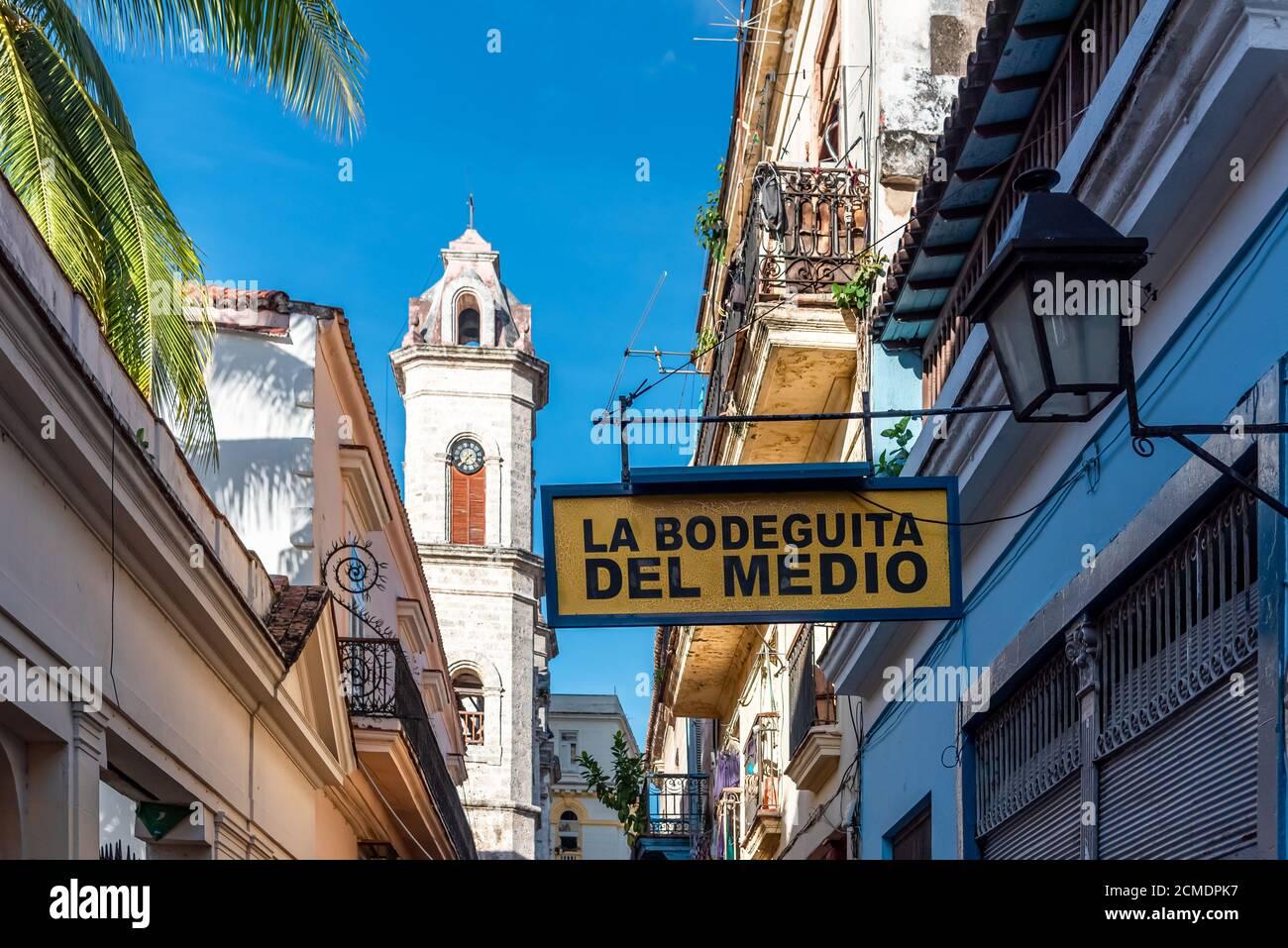 August 23, 2019: La Bodeguita del Medio sign. Old Havana, Cuba Stock Photo