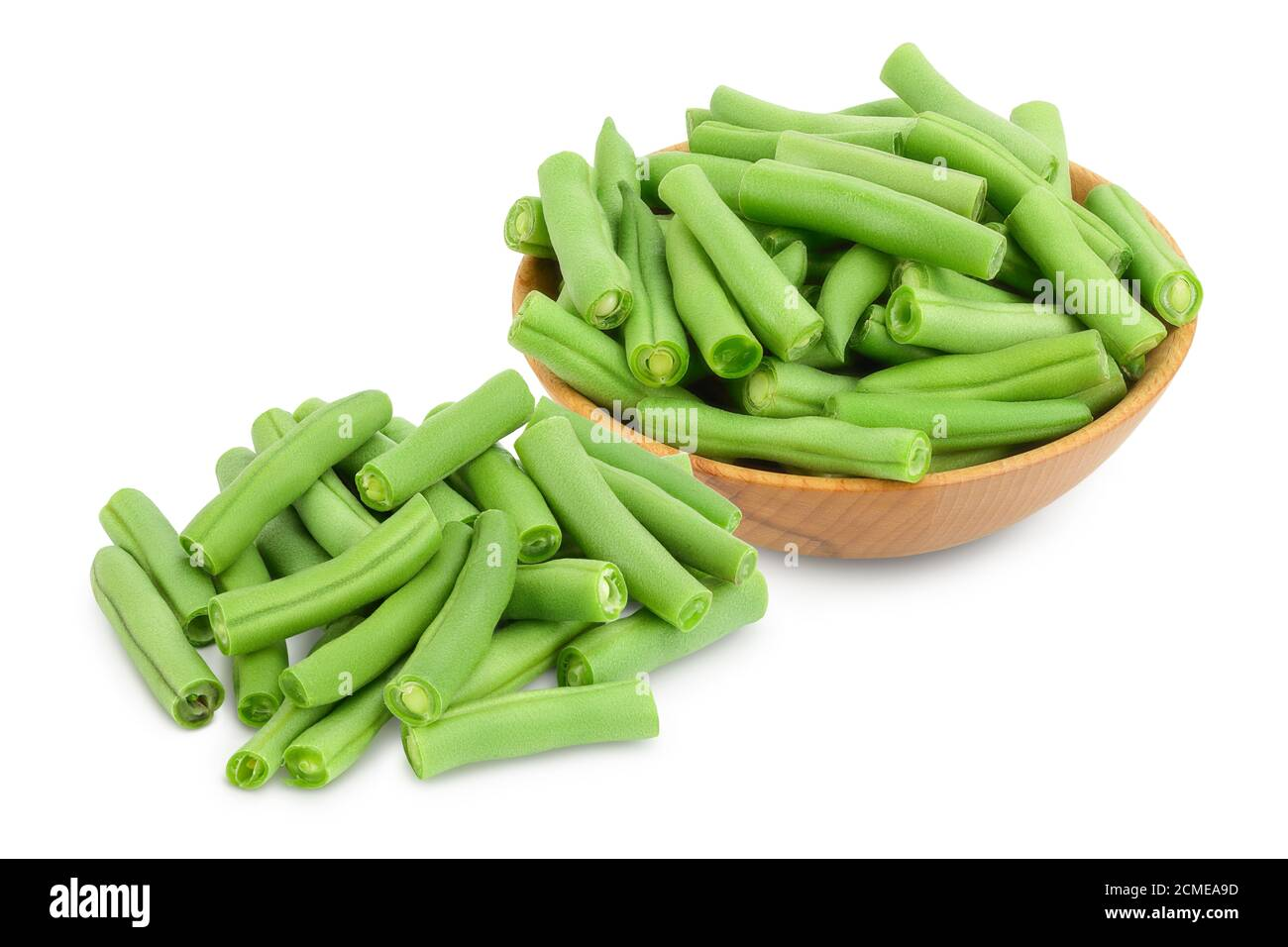 Green beans in wooden bowl isolated on a white background with clipping path and full depth of field, Stock Photo