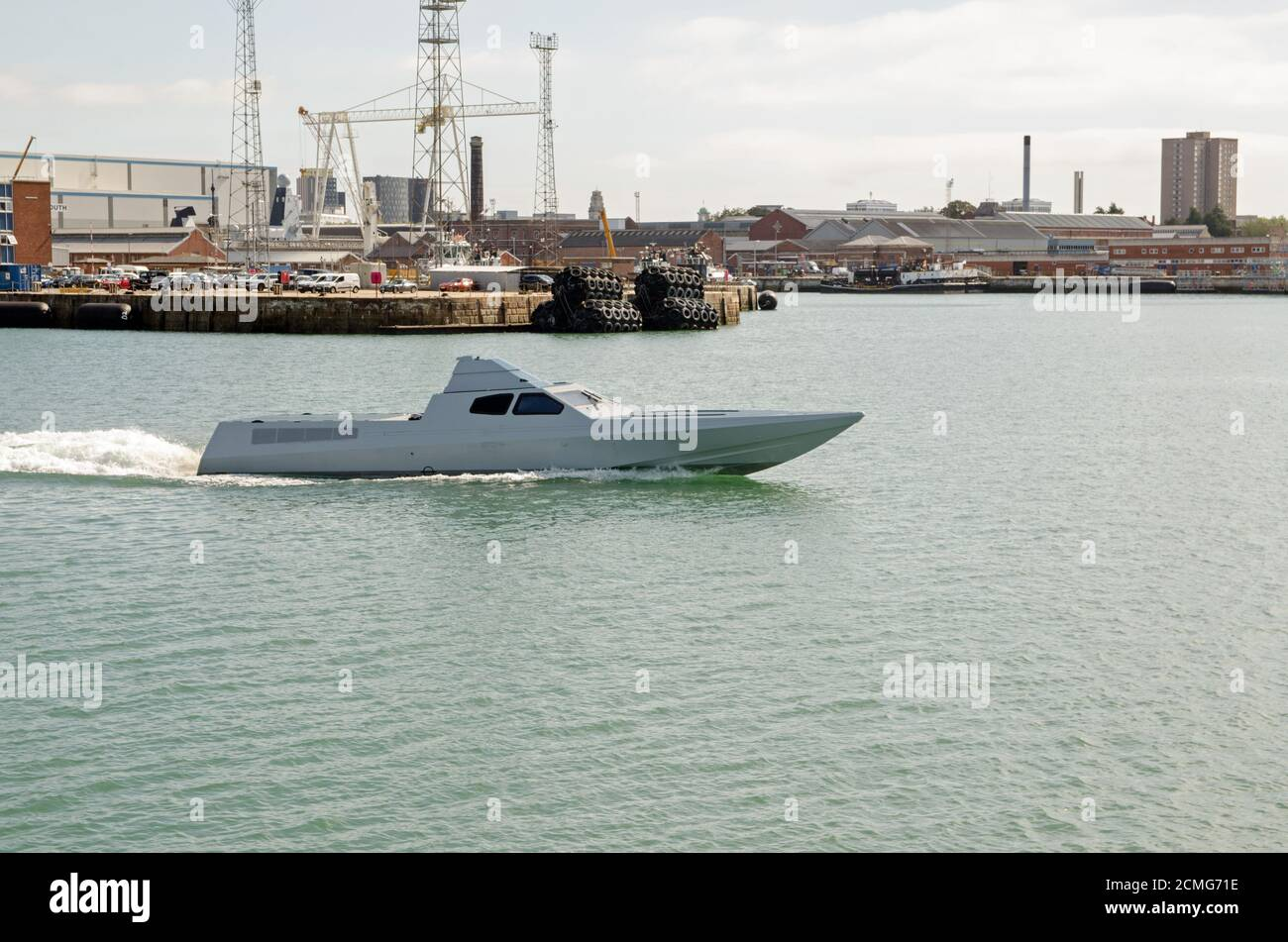 Portsmouth, UK - September 8, 2020: The prototype stealth boat being developed for the Special Boat Squadron as a fast interceptor craft by BAE System Stock Photo