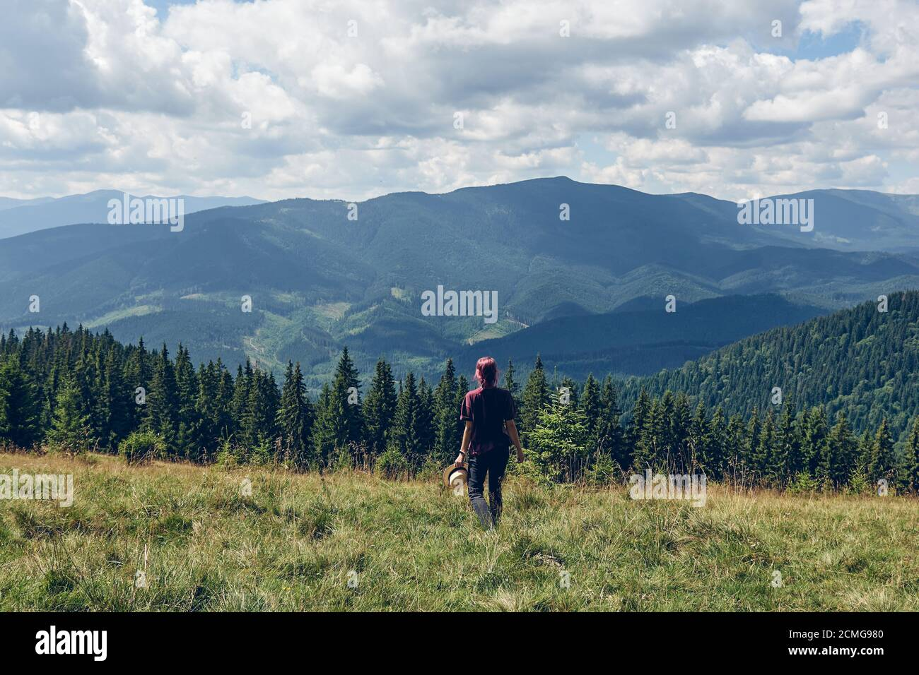 Girl with pink hair Standing on the clearing and looks at the mountains. Hiking through forest in summer. Dark autumn forest. Local Travel Concept Stock Photo