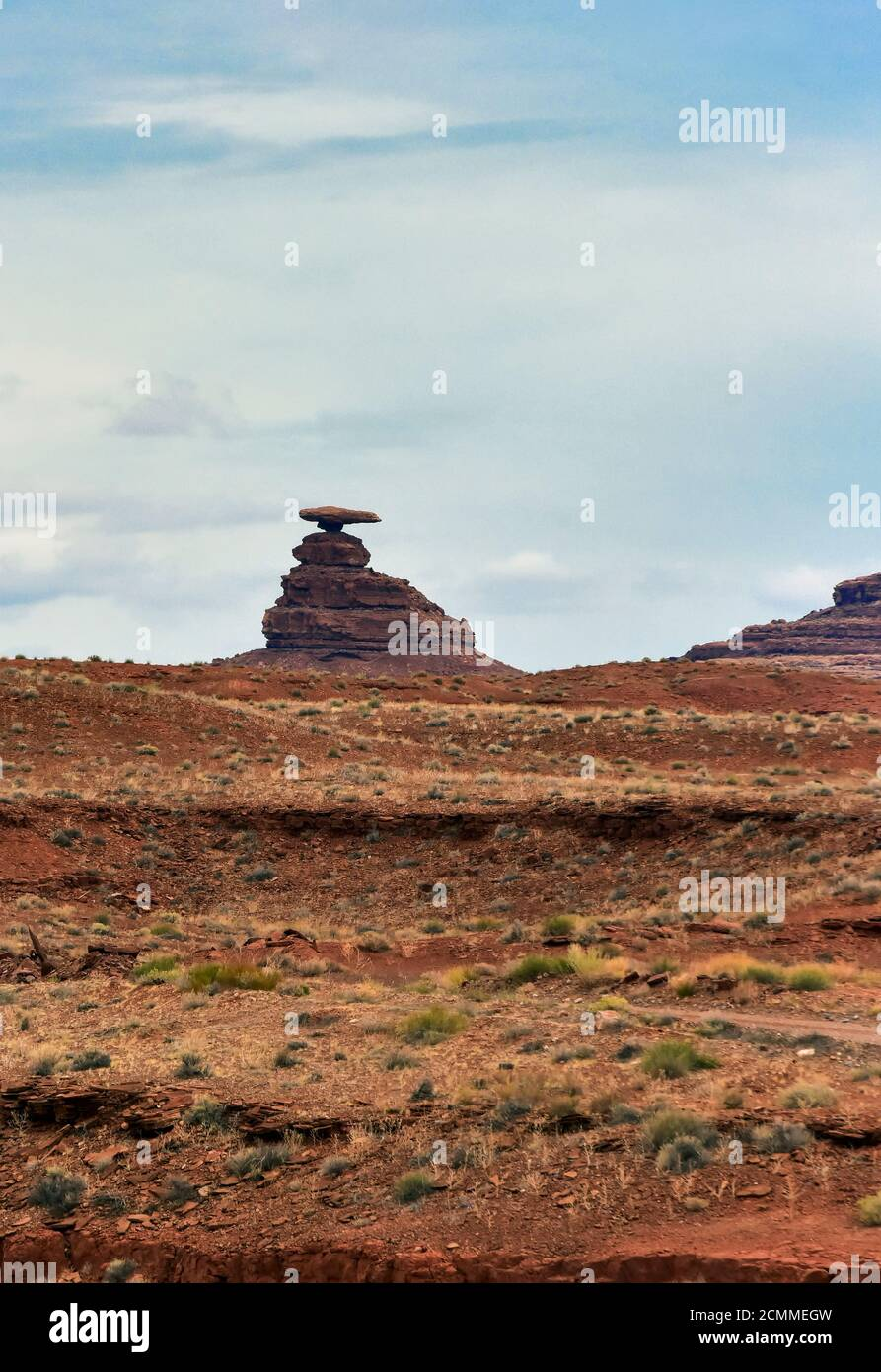 Landscape and natural geologic formation at Mexican Hat, Utah. Stock Photo