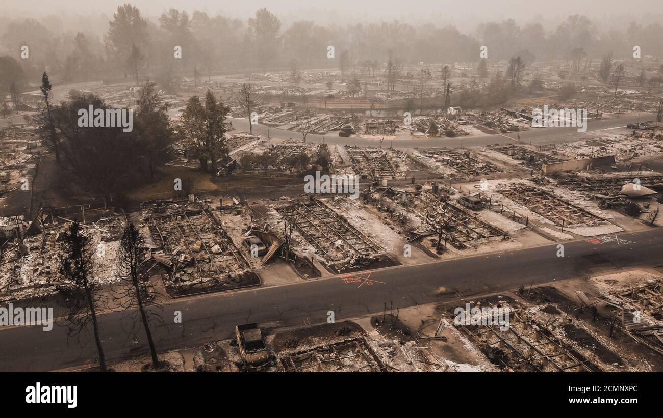 Panoramic aerial View of Almeda Wildfire in Southern Oregon Talent Phoenix. Fire Destroys many structures and mobile homes. Ruins peoples lives. Stock Photo