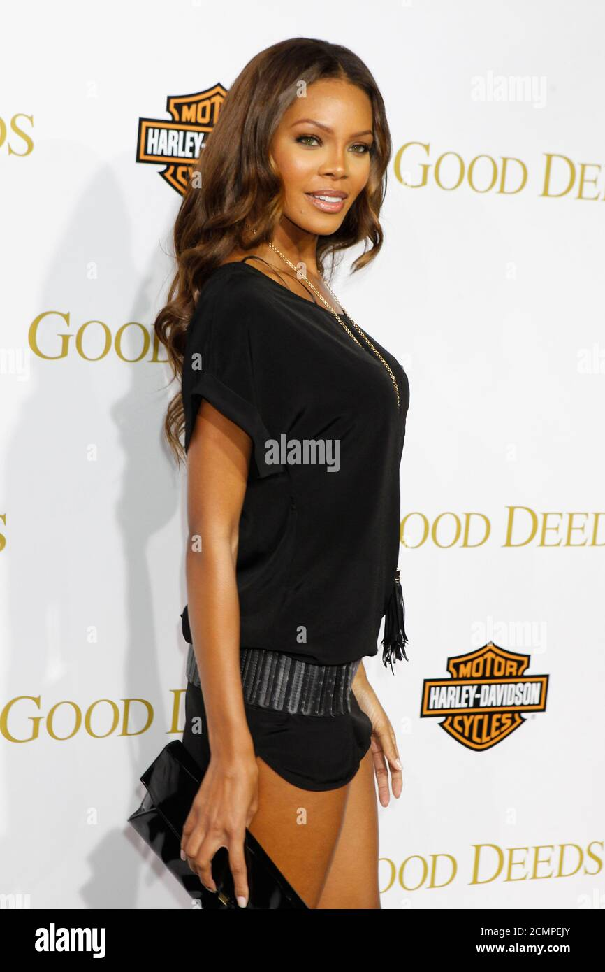 "Actress Crystle Stewart, star of the television series ""For Better or Worse"" directed and written by Tyler Perry, arrives at the premiere of Perry's new film ""Good Deeds"" in Los Angeles, California February 14, 2012. REUTERS/Fred Prouser  (UNITED STATES - Tags: ENTERTAINMENT) Stock Photo"