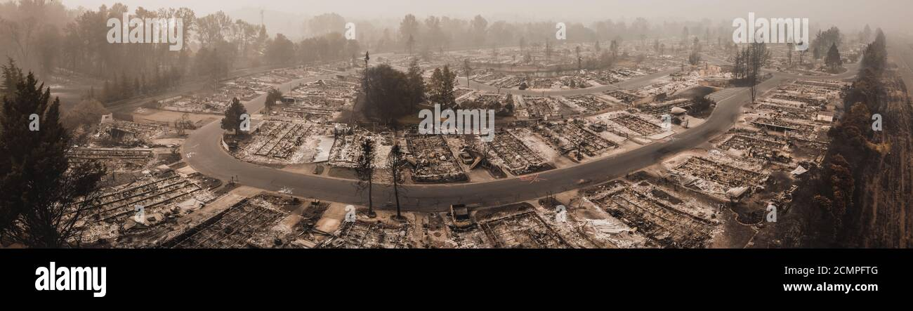 Panoramic Image Aerial View Almeda Wildfire in Southern Oregon Talent Phoenix Northern California. Fire Destroys hundreds of houses and mobile homes. Stock Photo