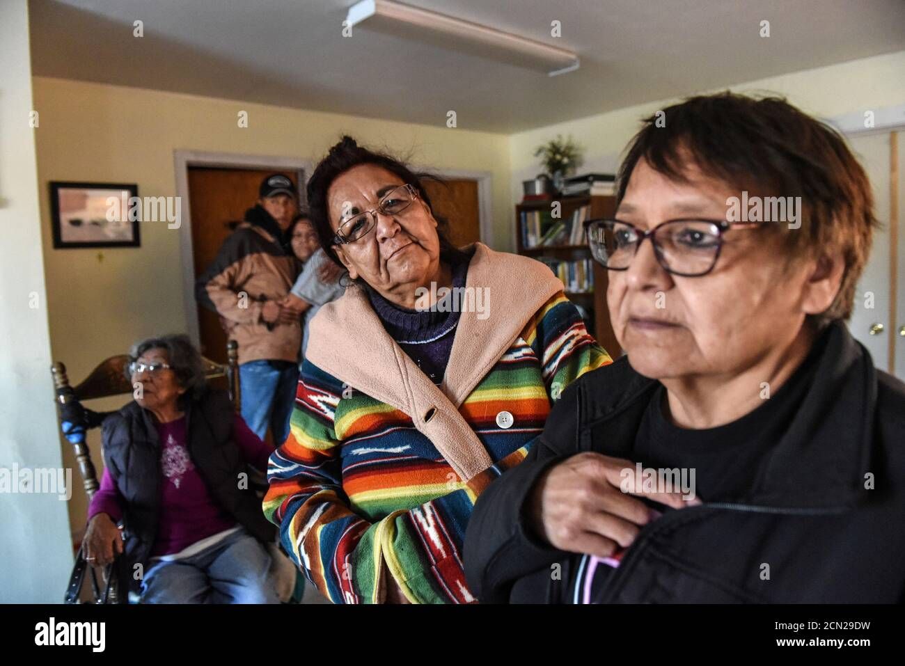 Descendant of the Lakotas killed at the Wounded Knee massacre gather at a community building on the Cheyenne River reservation in Bridger, South Dakota, November 7, 2019.  REUTERS/Stephanie Keith Stock Photo