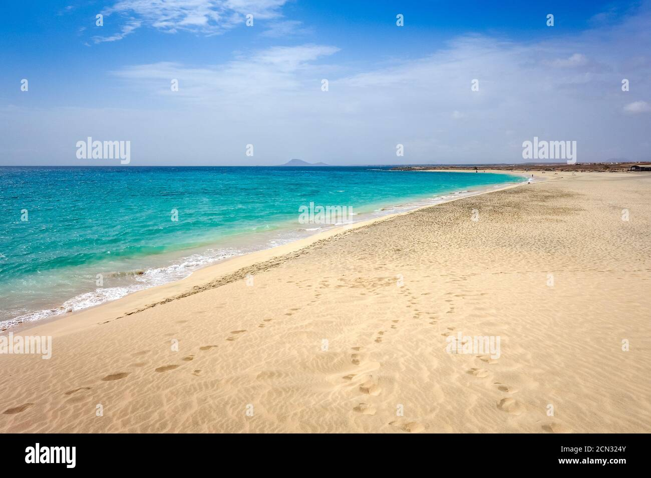 Ponta preta beach and dune in Santa Maria, Sal Island, Cape Verde Stock Photo