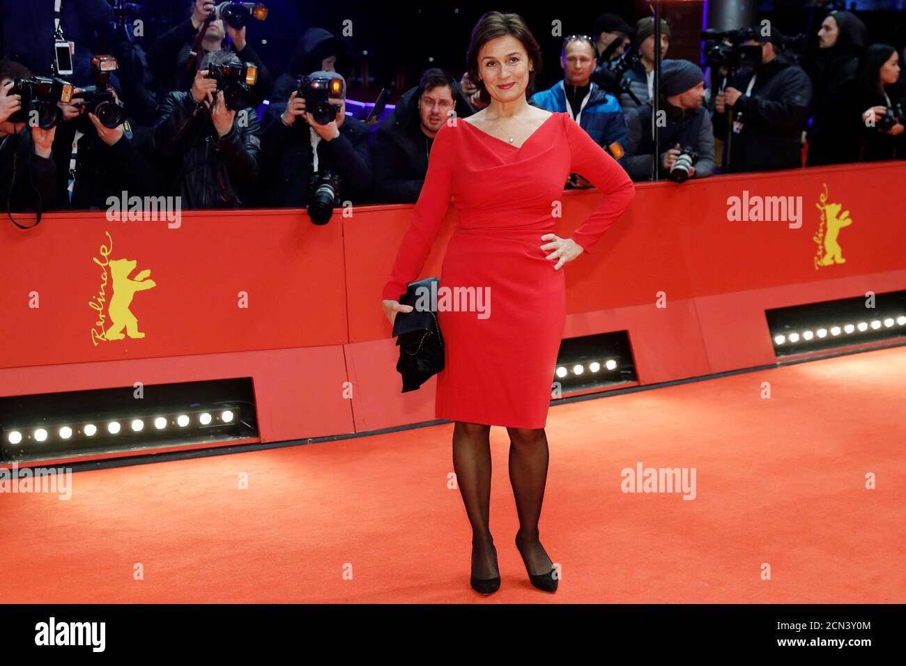Sandra Maischberger poses on the red carpet as she arrives for the award ceremony of the 70th Berlinale International Film Festival in Berlin, Germany, February 29, 2020. REUTERS/Michele Tantussi Stock Photo