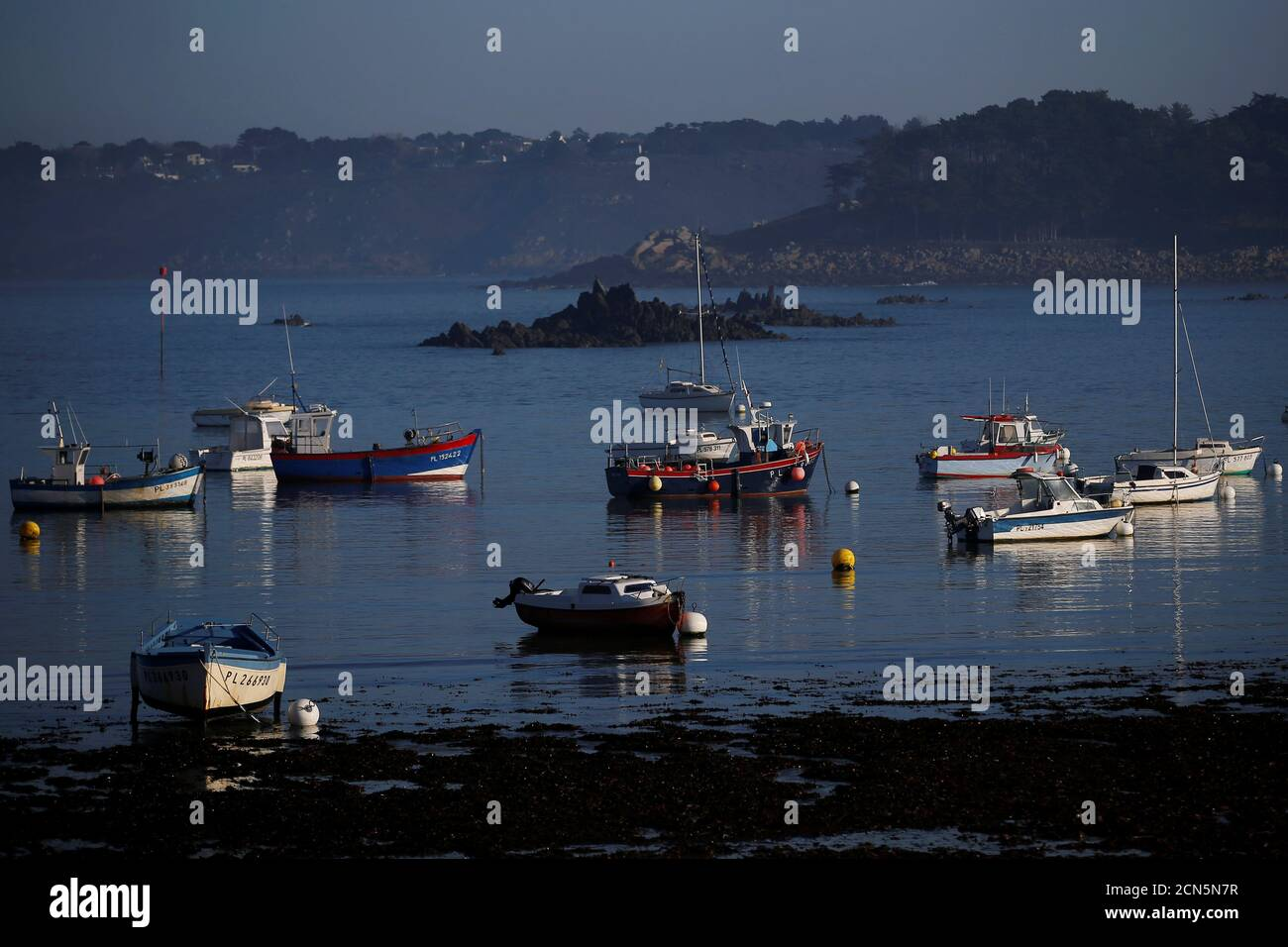 Boats are seen in the harbor of Tredrez-Locquemeau near Lannion, Brittany's Atlantic coast, December 17, 2016. REUTERS/Stephane Mahe Stock Photo