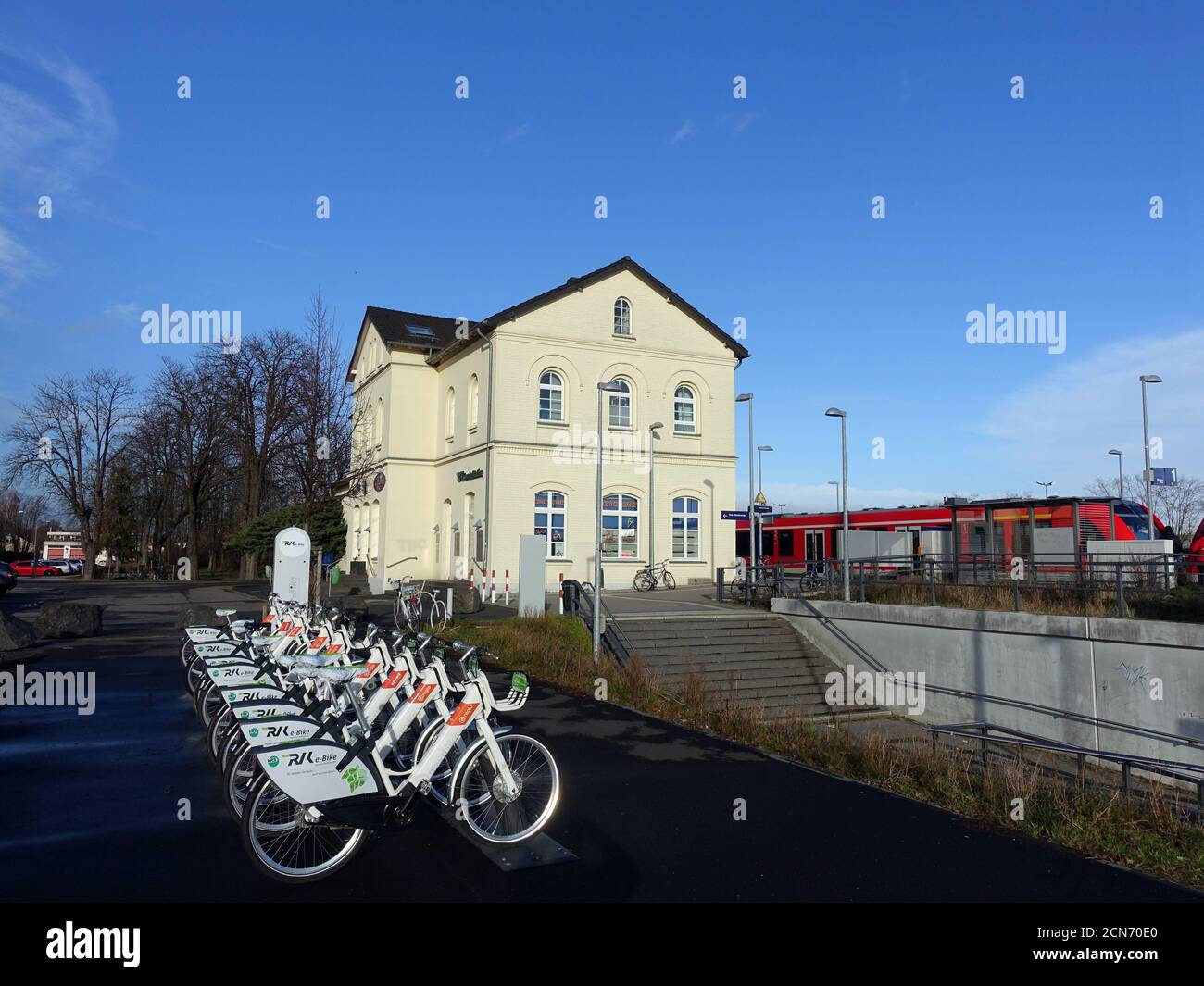 Rental station for nextbike electric bikes at Weilerswist Railway station Stock Photo