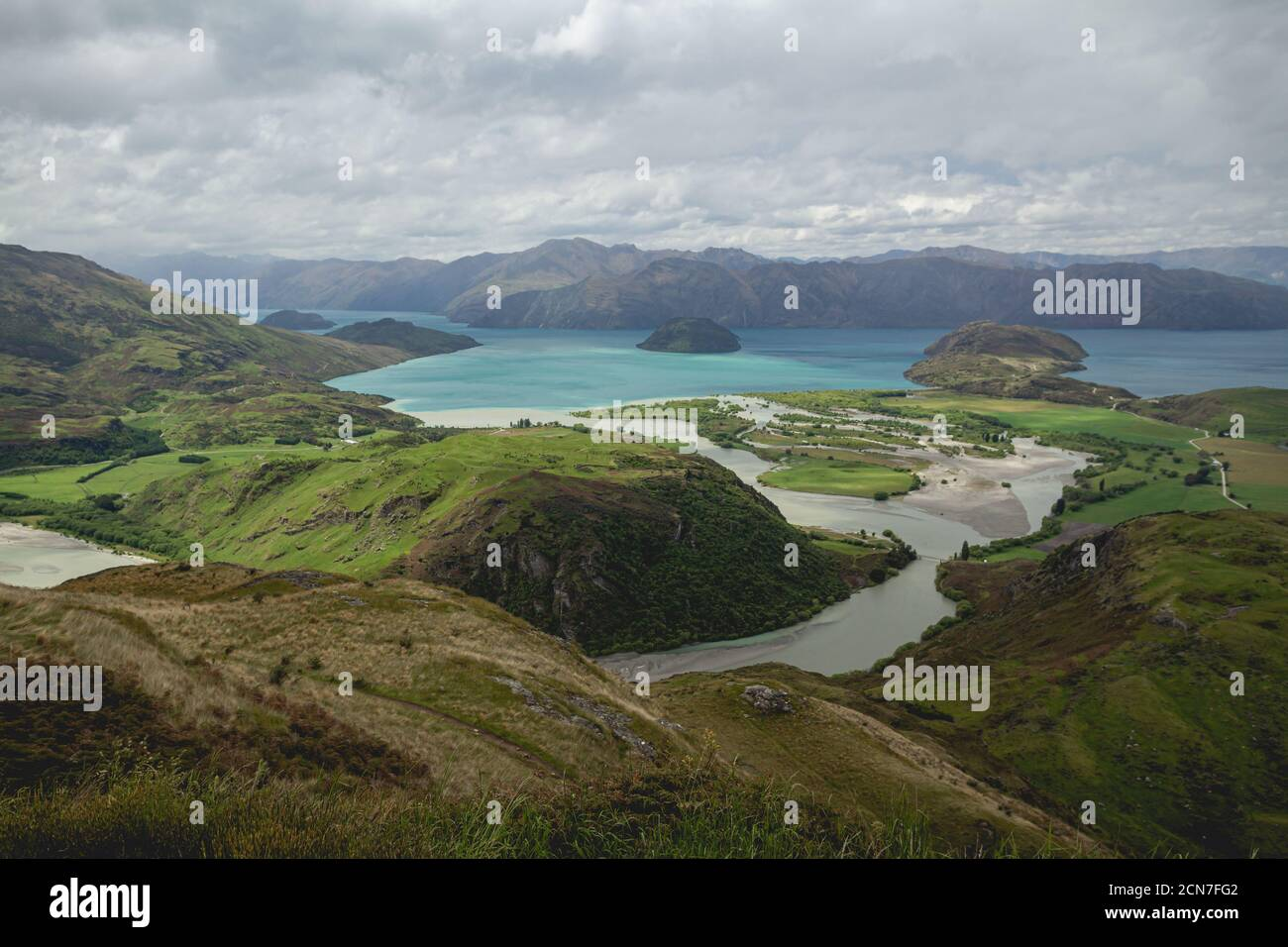 The view of Lake Wanaka from the top of Rocky Mountain in New Zealand Stock Photo