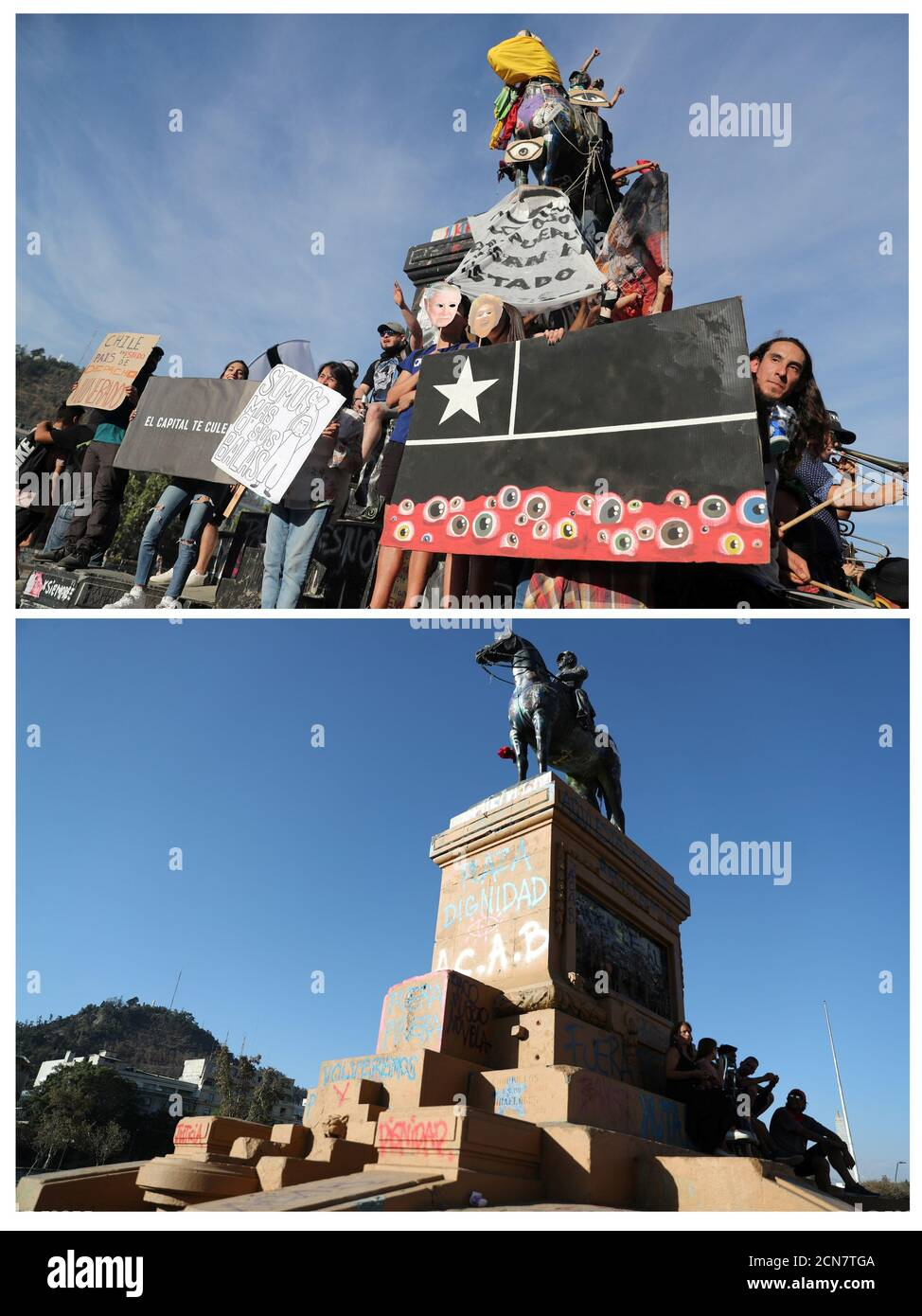 A combination photo shows demonstrators displaying signs during a protest against Chile's government at Plaza Italia, now known as Plaza de la Dignidad (Dignity square), in Santiago, Chile, in this December 10, 2019 file photo, and (bottom) a view of an almost empty Dignity Square following the outbreak of the coronavirus disease (COVID-19), March 24, 2020. Bottom picture taken March 24, 2020. REUTERS/Ivan Alvarado Stock Photo