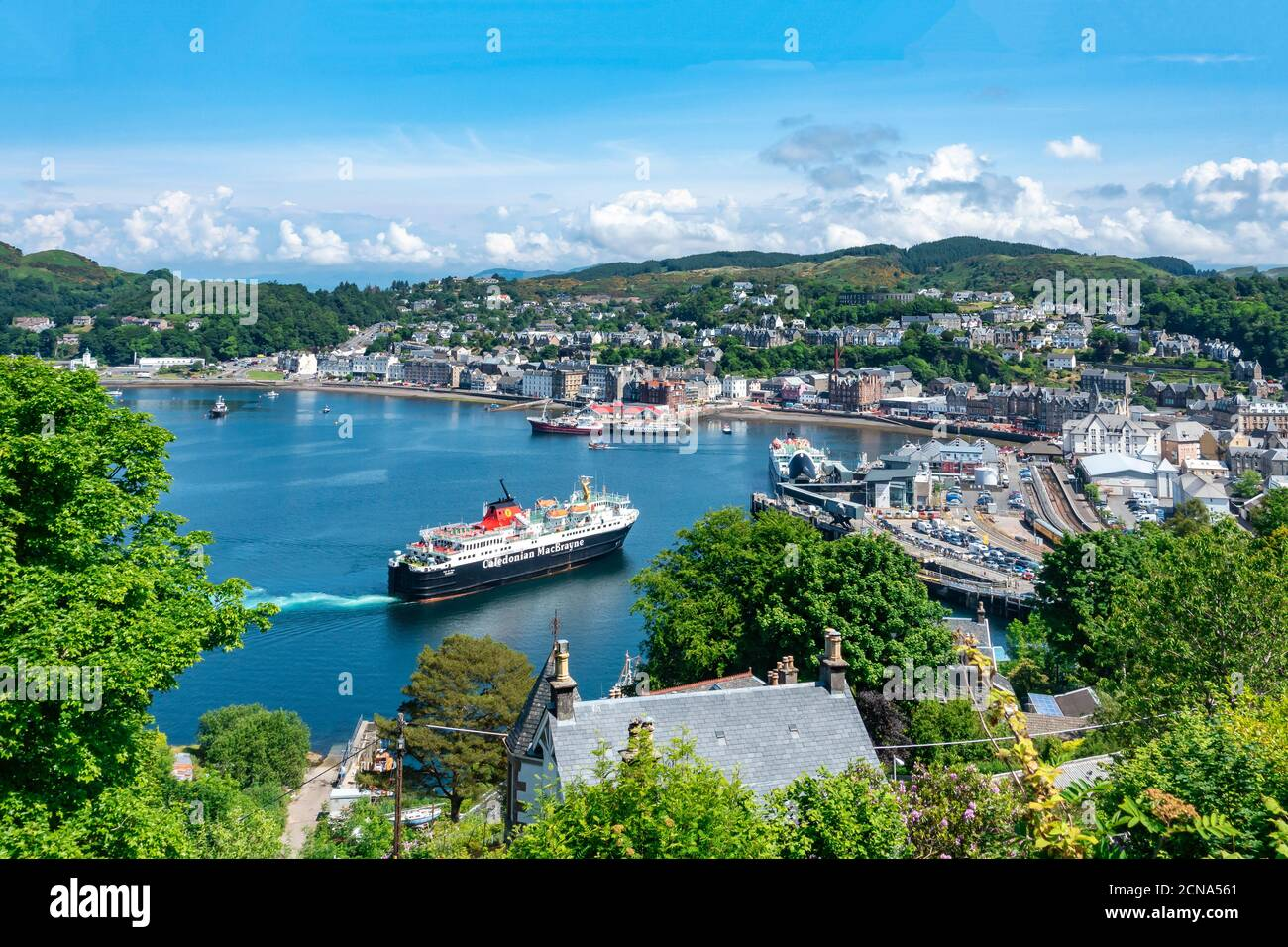 Caledonian Macbrayne car and passenger ferry Isle of Mull arriving at the berth in harbour Oban Argyll & Bute Scotland from Mull Stock Photo