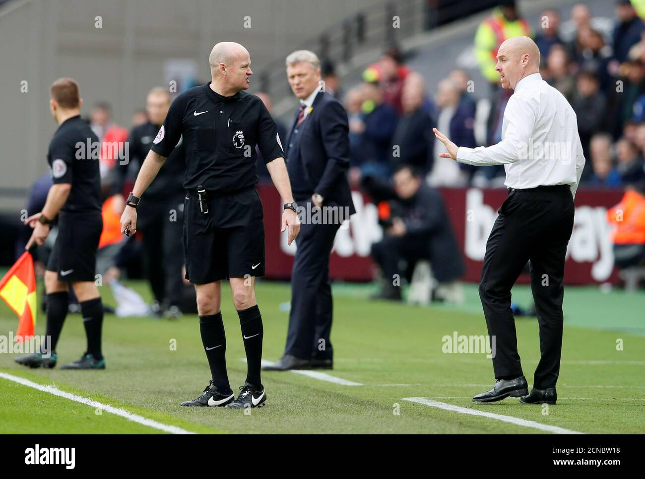 Soccer Football Premier League West Ham United Vs Burnley London Stadium London Britain March 10 2018 Burnley Manager Sean Dyche Remonstrates With Referee Lee Mason As West Ham