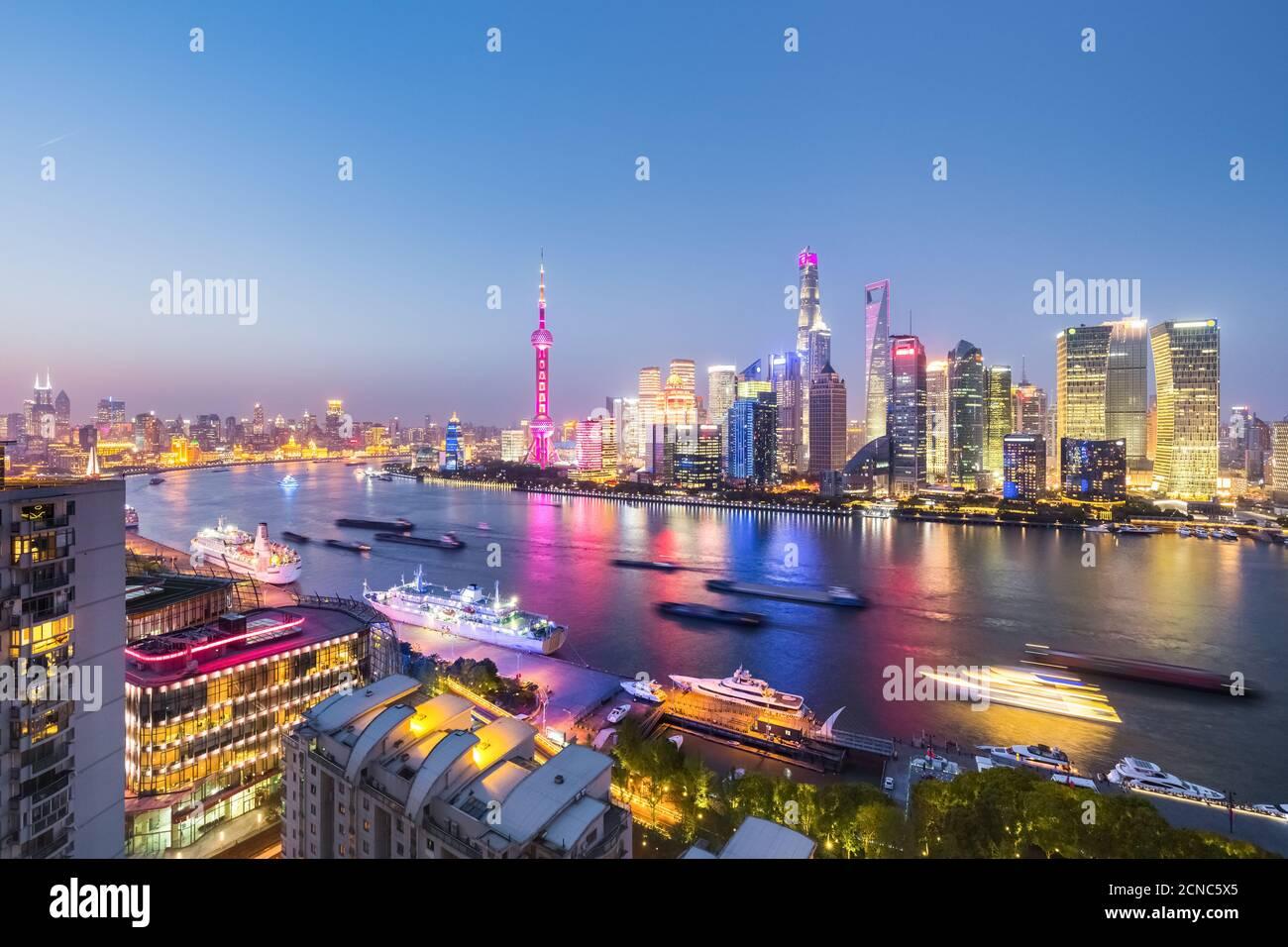 night view of shanghai north bund Stock Photo