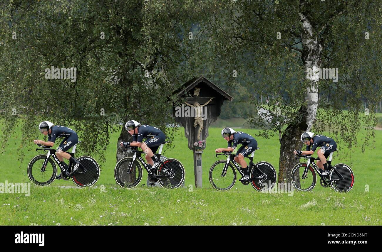 Cycling - UCI Road Cycling World Championships - Tirol, Austria - September 23, 2018  Wiggle High5 Team during the Women's Team Time Trial  REUTERS/Heinz-Peter Bader Stock Photo