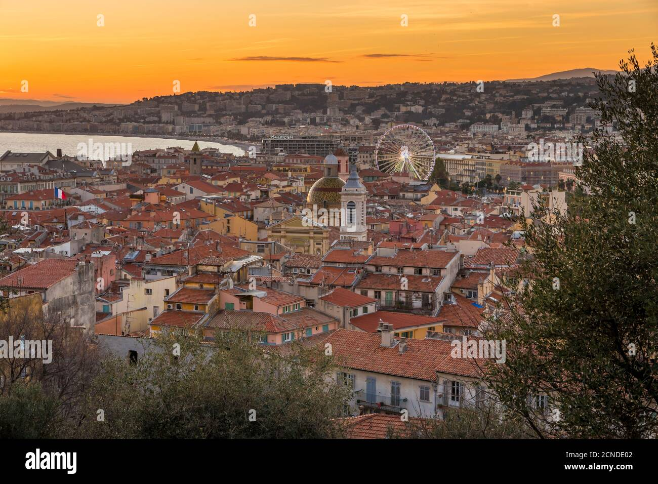 Elevated view from Castle Hill over the old town at sundown, Nice, Alpes Maritimes, Cote d'Azur, French Riviera, Provence, France, Mediterranean Stock Photo