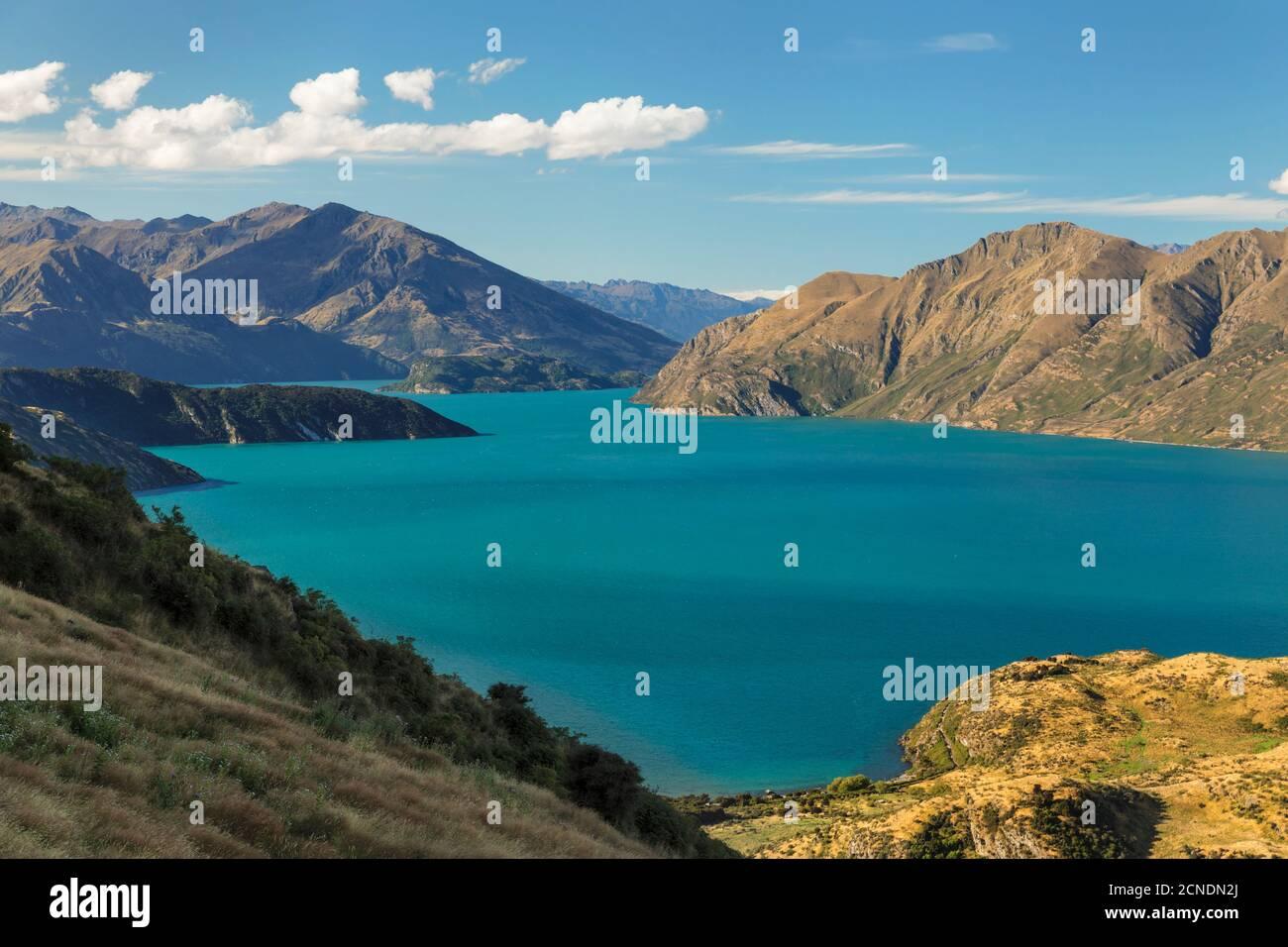 Lake Wanaka from Roy's Peak Track, Mount-Aspiring National Park, UNESCO World Heritage Natural Site, Otago, South Island, New Zealand, Pacific Stock Photo