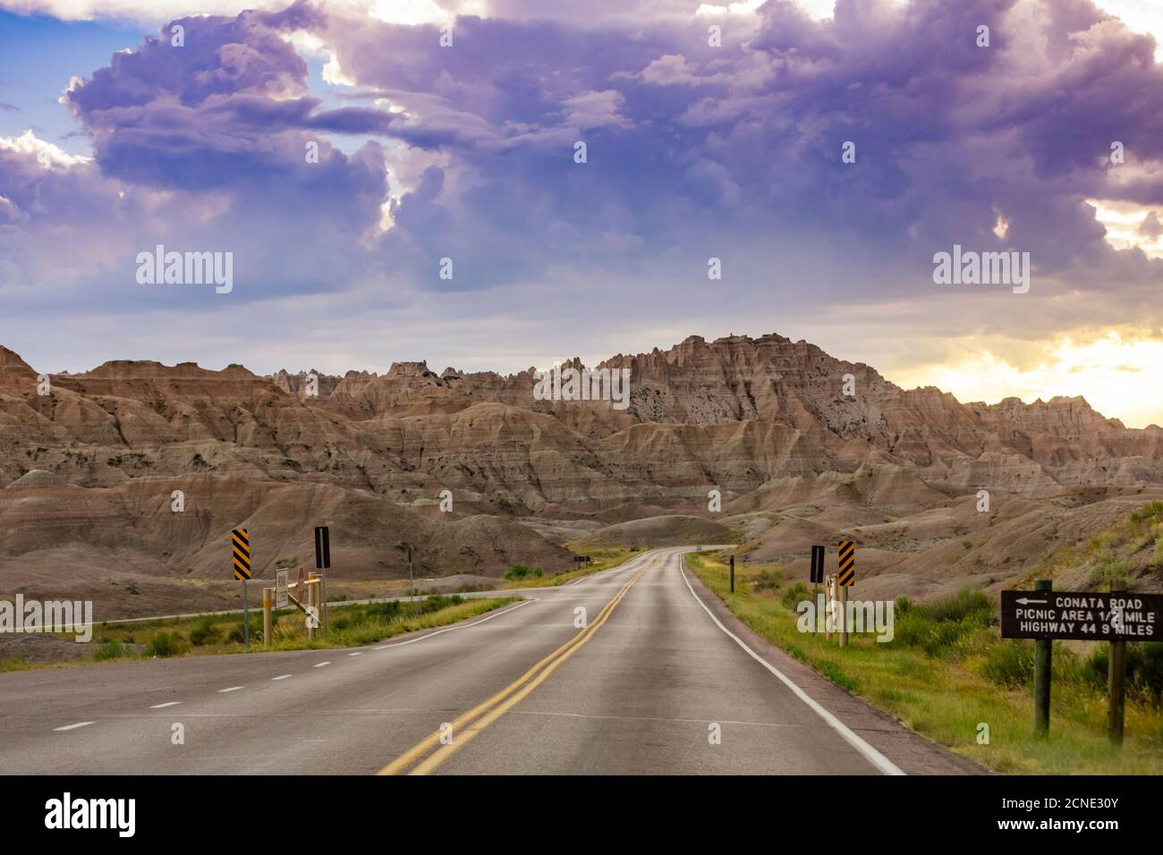Driving and sightseeing in the Badlands National Park, South Dakota, United States of America Stock Photo
