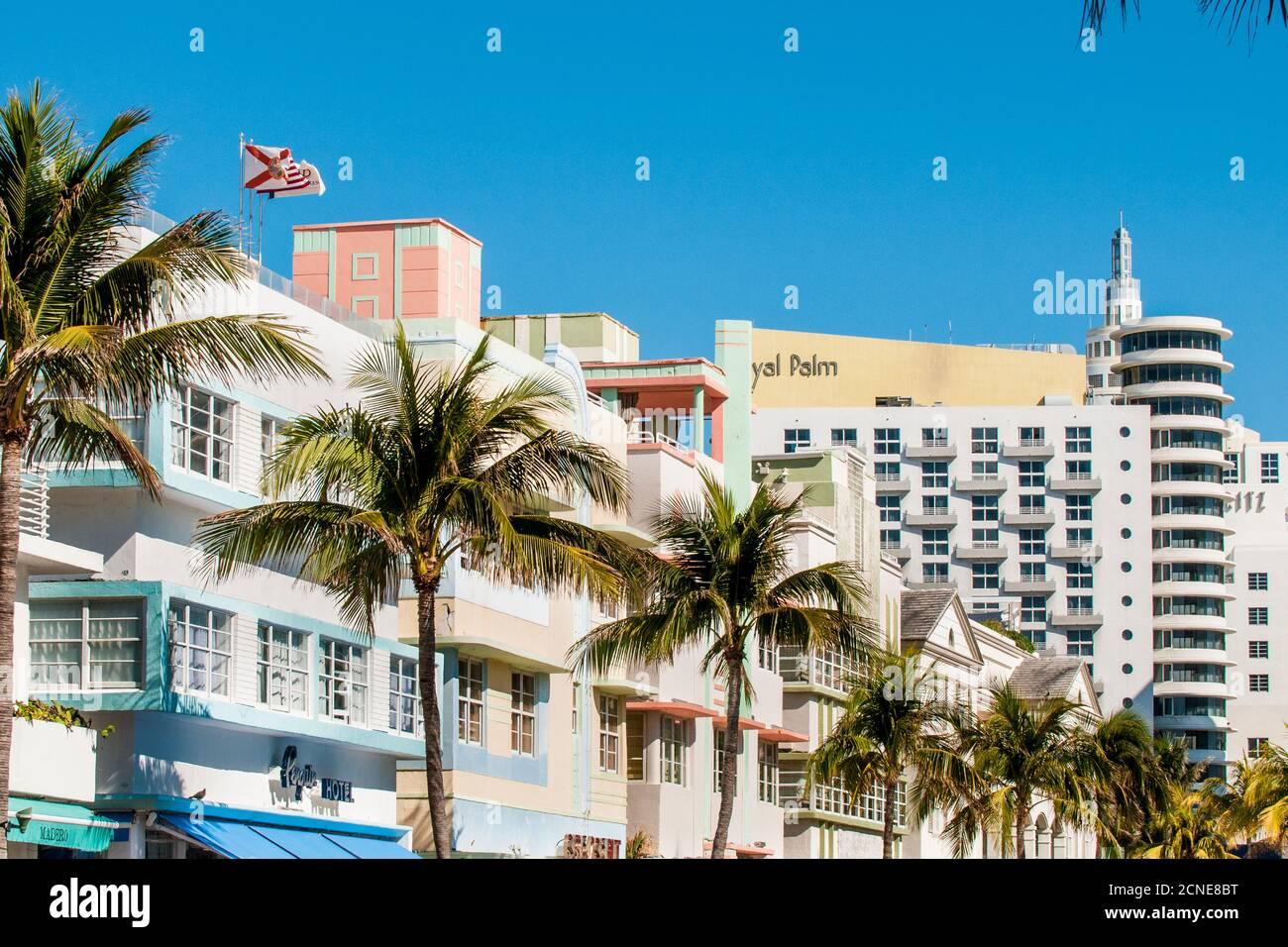 Art Deco architecture in South Beach district, Miami, Florida, United States of America Stock Photo