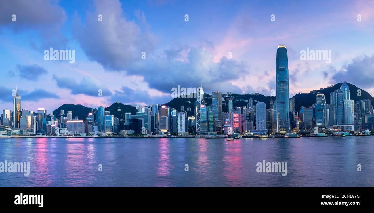 Skyline of Hong Kong Island at sunset, Hong Kong, China, Asia Stock Photo