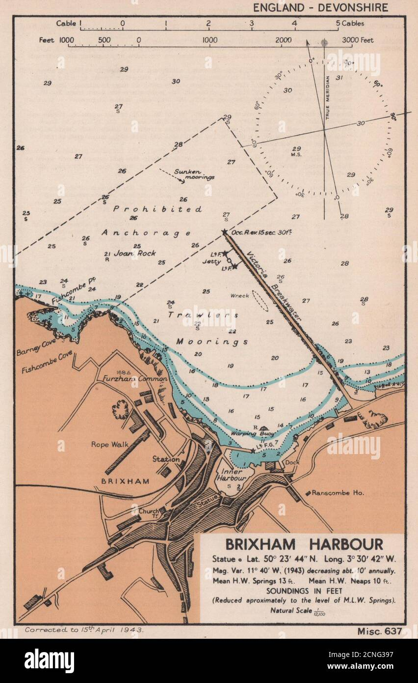 Devon ADMIRALTY 1943 old map Salcombe Harbour town plan /& sea coast chart