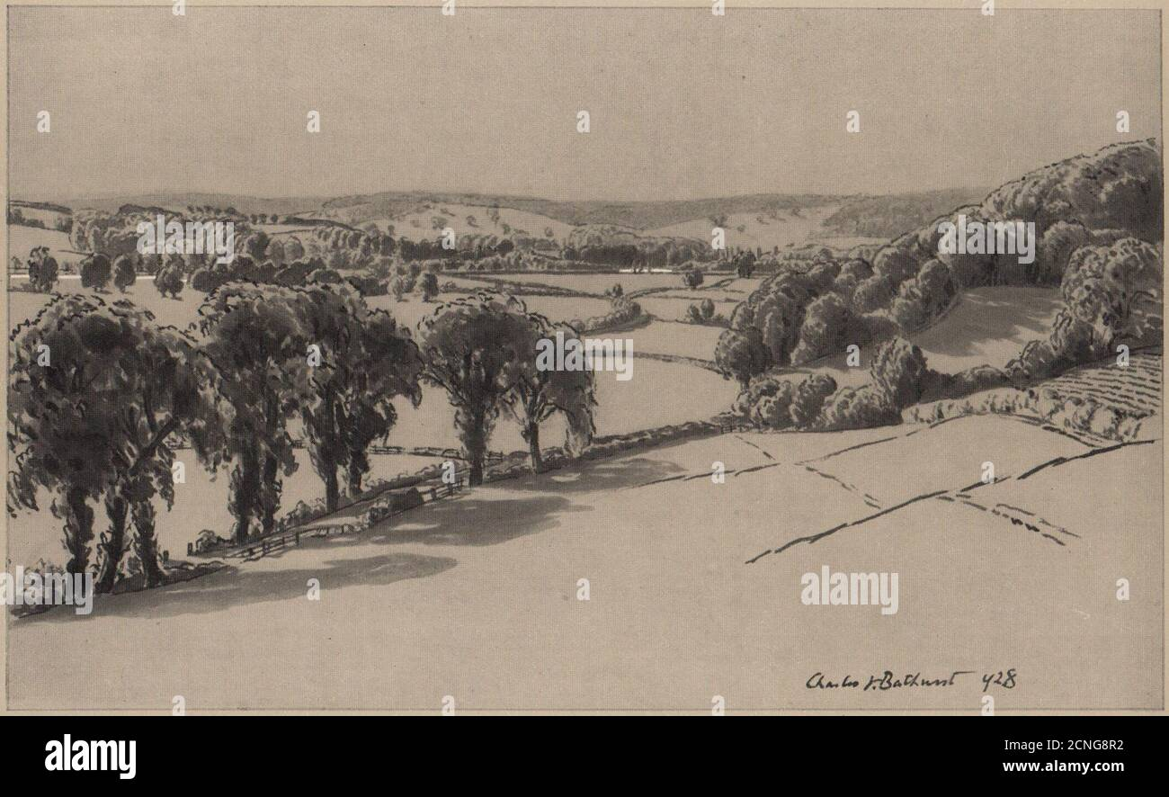 Above Medmenham. Chilterns. Buckinghamshire 1929 old vintage print picture Stock Photo