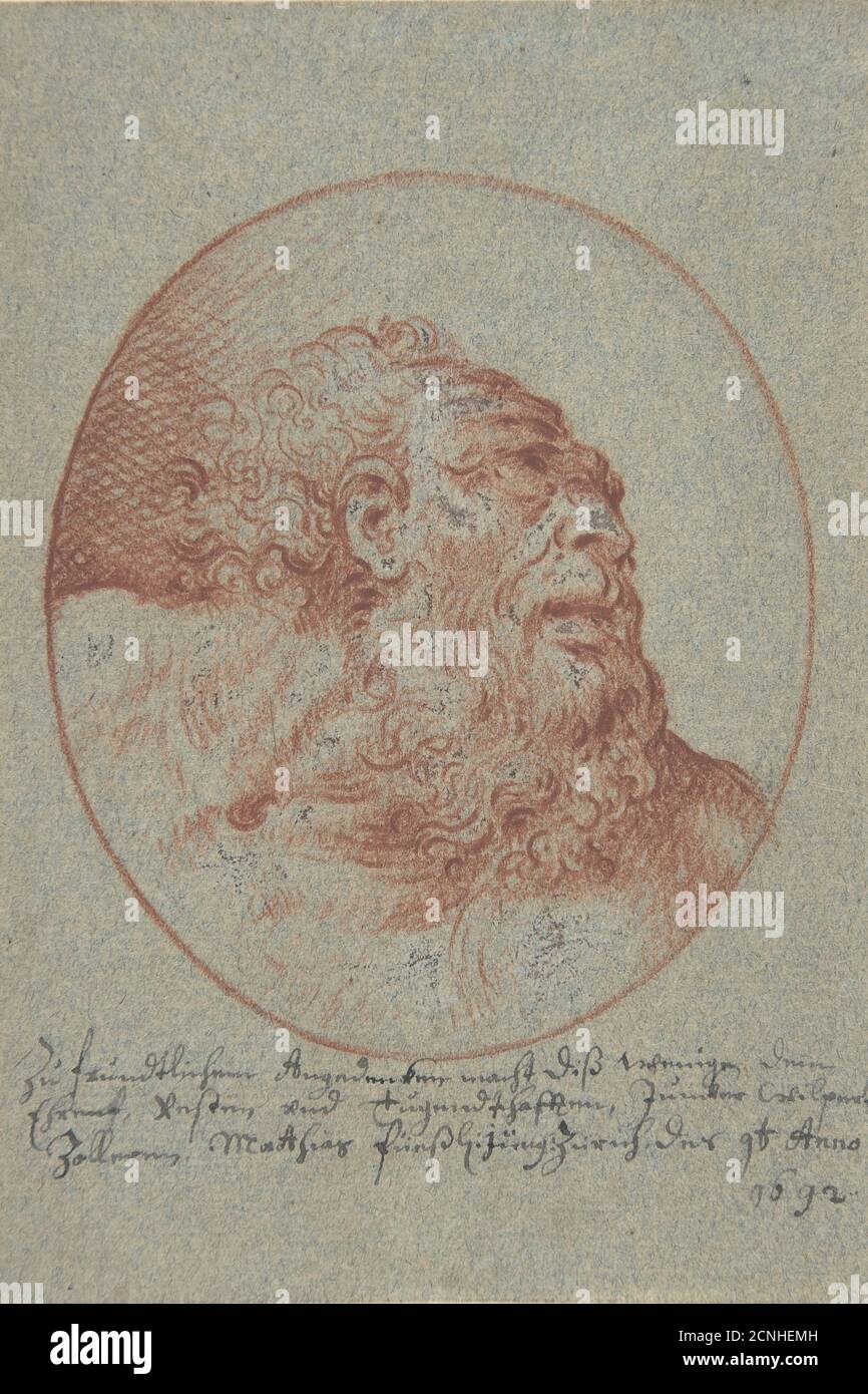 Head of a Bearded Man Looking Right, 1692. Stock Photo