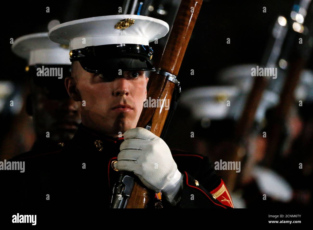 Members of the U.S. Marine Corps Silent Drill team take part in the opening ceremonies of the Invictus Games in Orlando Florida, U.S., May 8, 2016.  REUTERS/Carlo Allegri Stock Photo