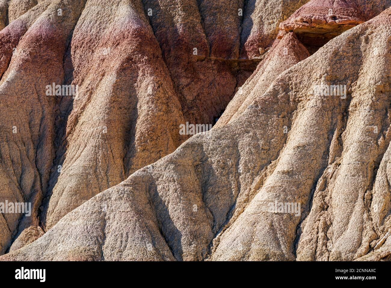 Rock formations, Bardenas Reales badlands, Navarre, Spain Stock Photo