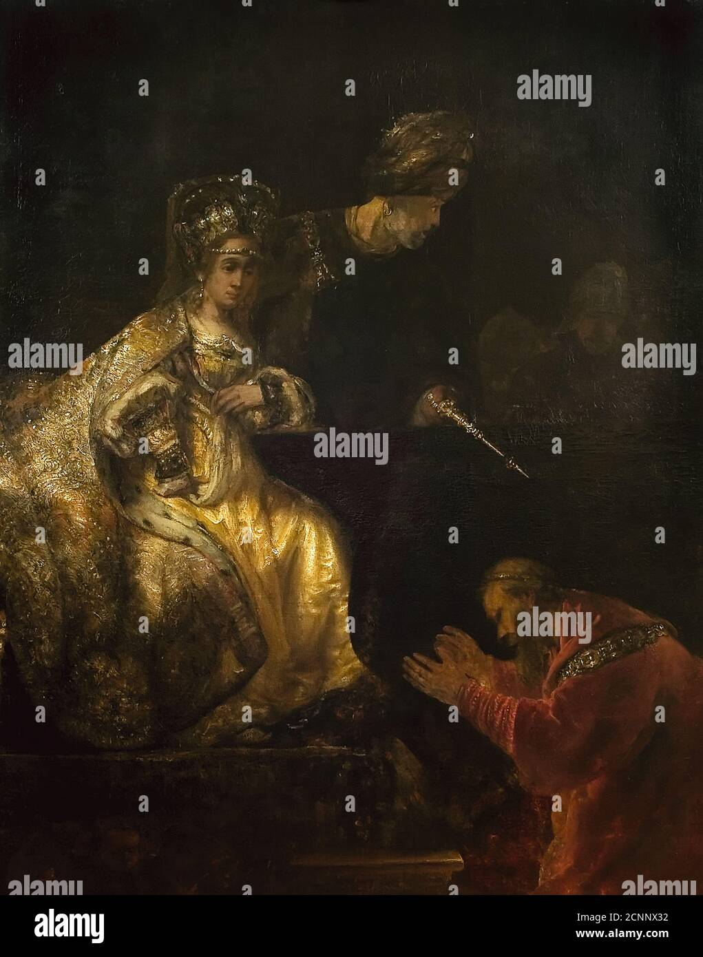 Haman Begging the Mercy of Esther, 1660s. Found in the collection of Muzeul National de Arta al Romaniei, Bucuresti. Stock Photo