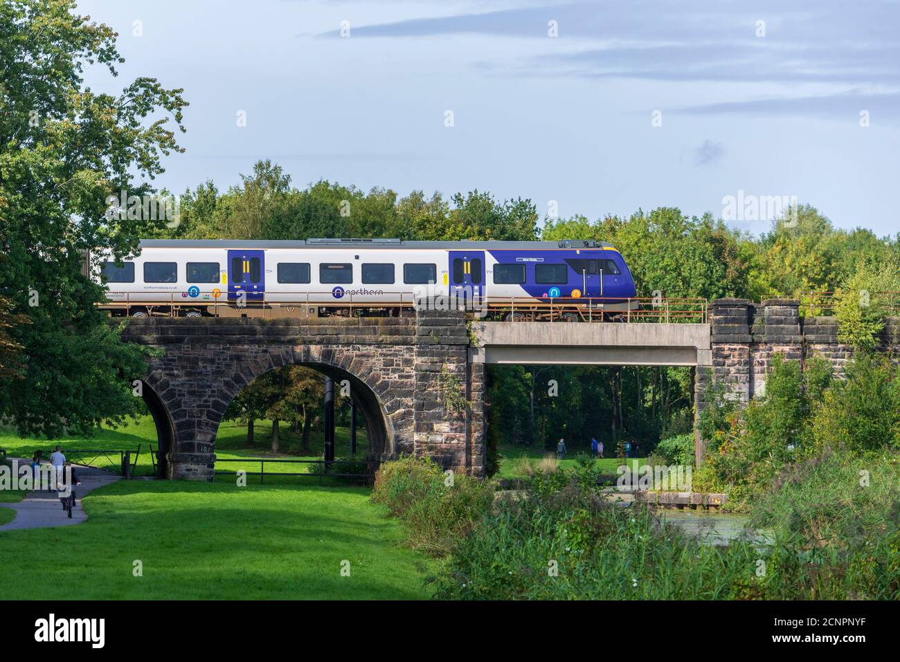A Northern Rail diesel train crosses the Sankey Valley viaduct over the disused canal in the linaer park in the West of Warrington. Stock Photo