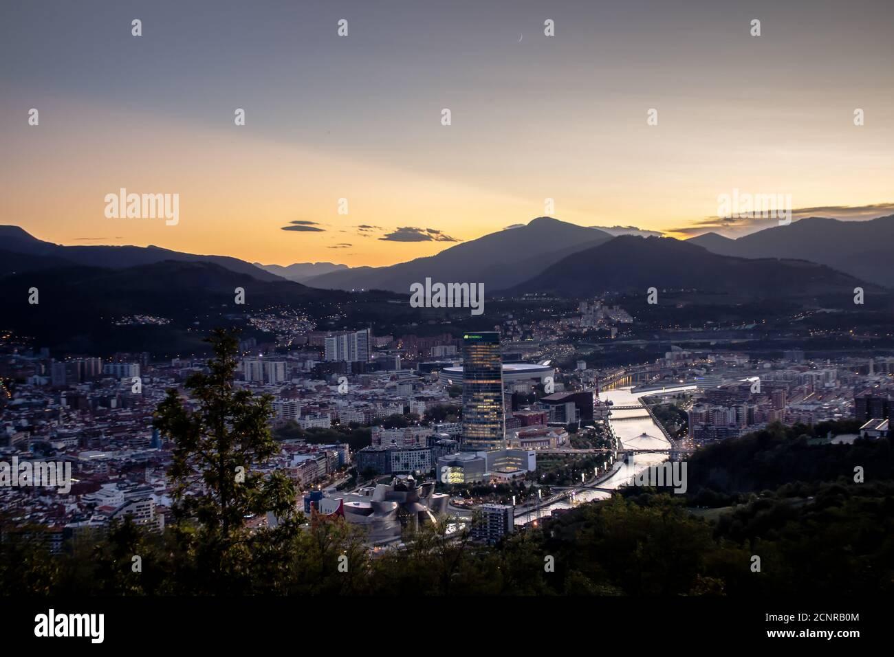 View of Bilbao in sunset. Stock Photo